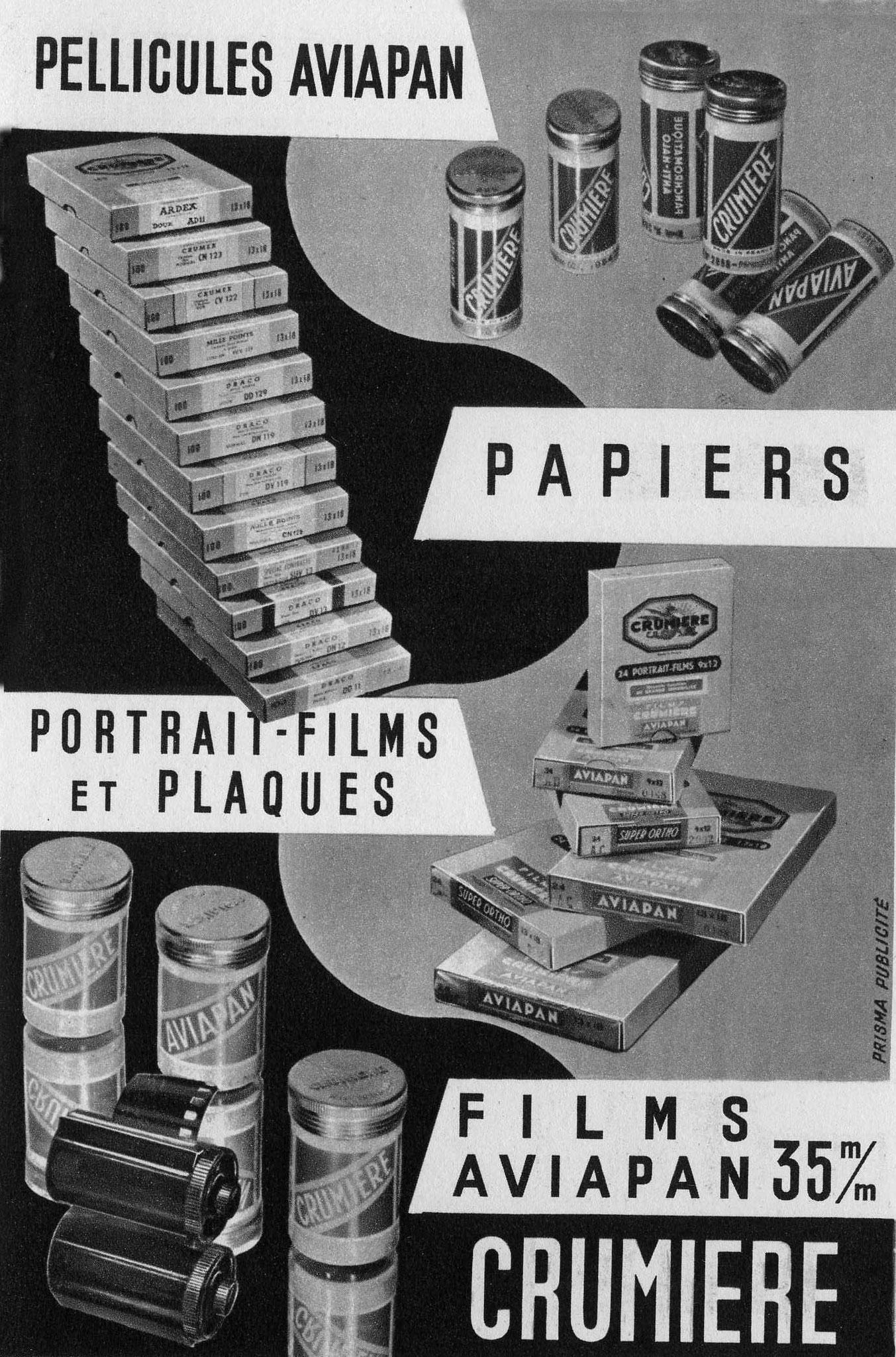 publicité de 1951 pour papiers photographiques CRUMIERE