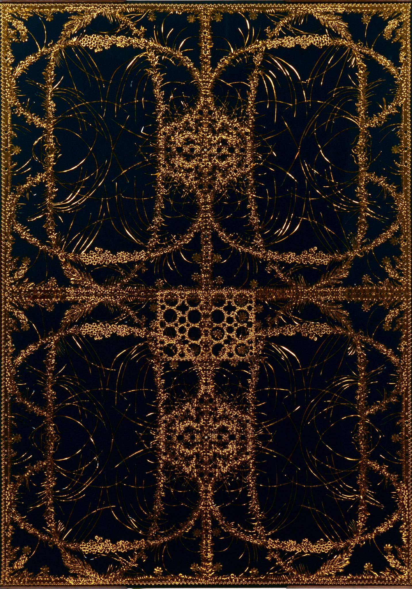 「エコーの森 1」 2007年、金紙切り紙細工、人造宝石、ガラス、103X73cm