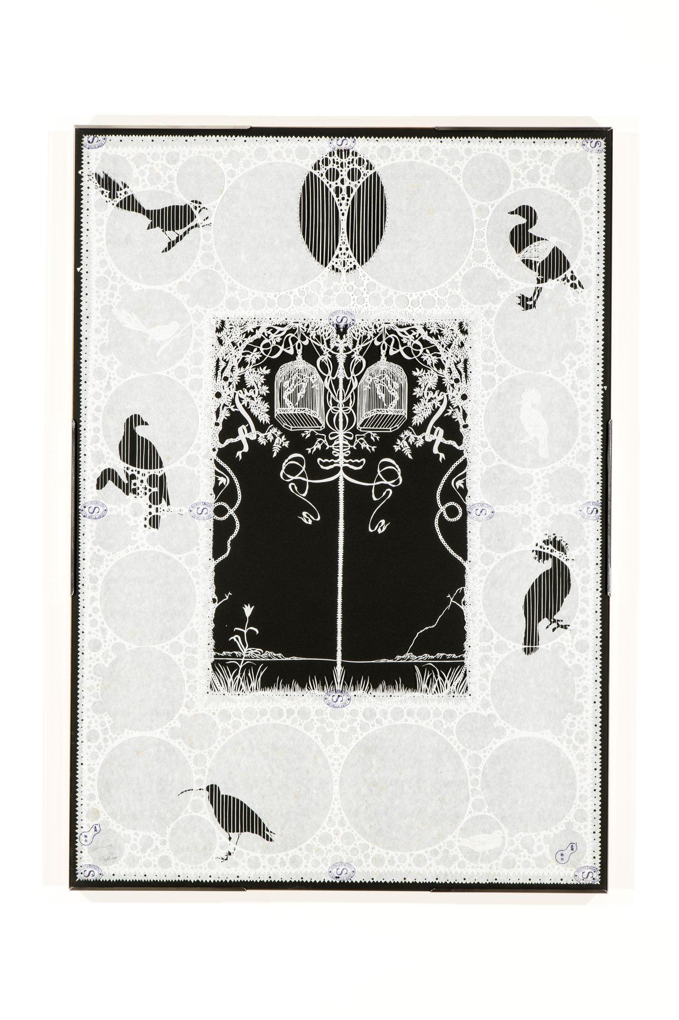 「楽園の鳥籠」 制作年不明(2,000年頃)切り紙細工、和紙、ガラス、103X73(cm)