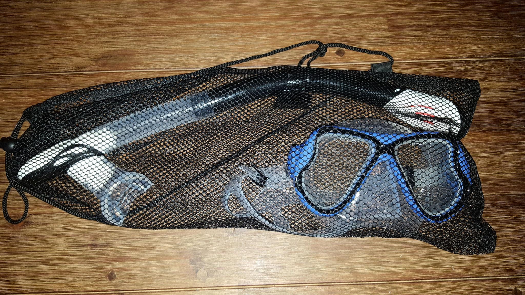 Schnorchelset mit Netztasche