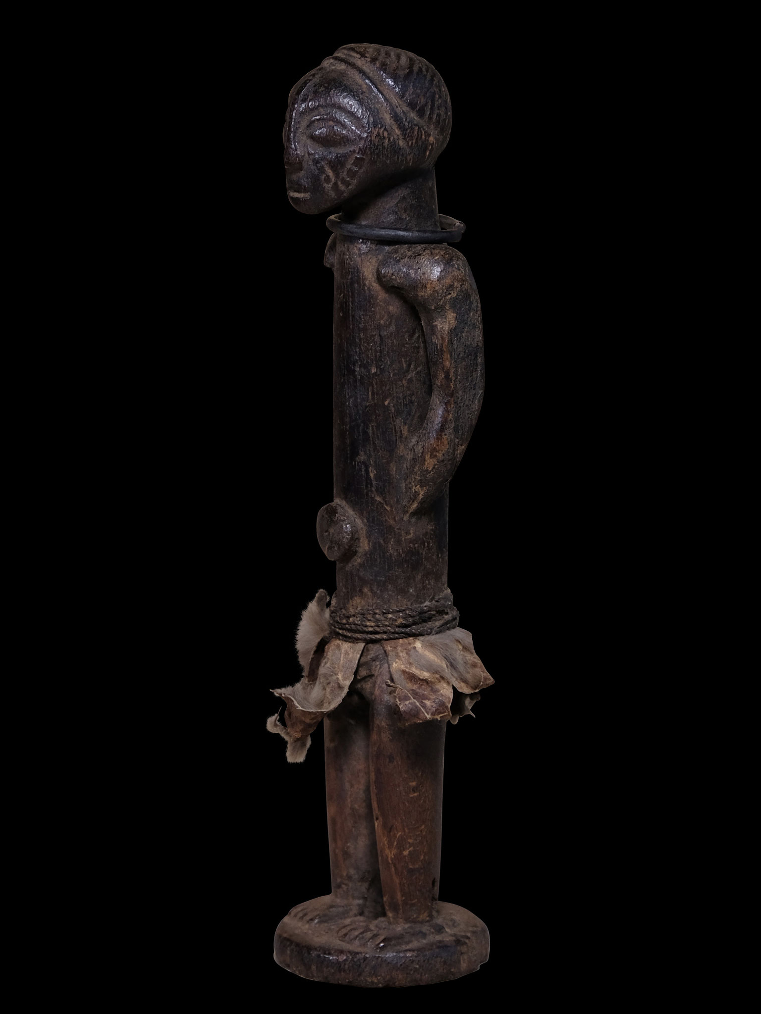Tabwa Figure, Congo, with old patina and metal ring around neck