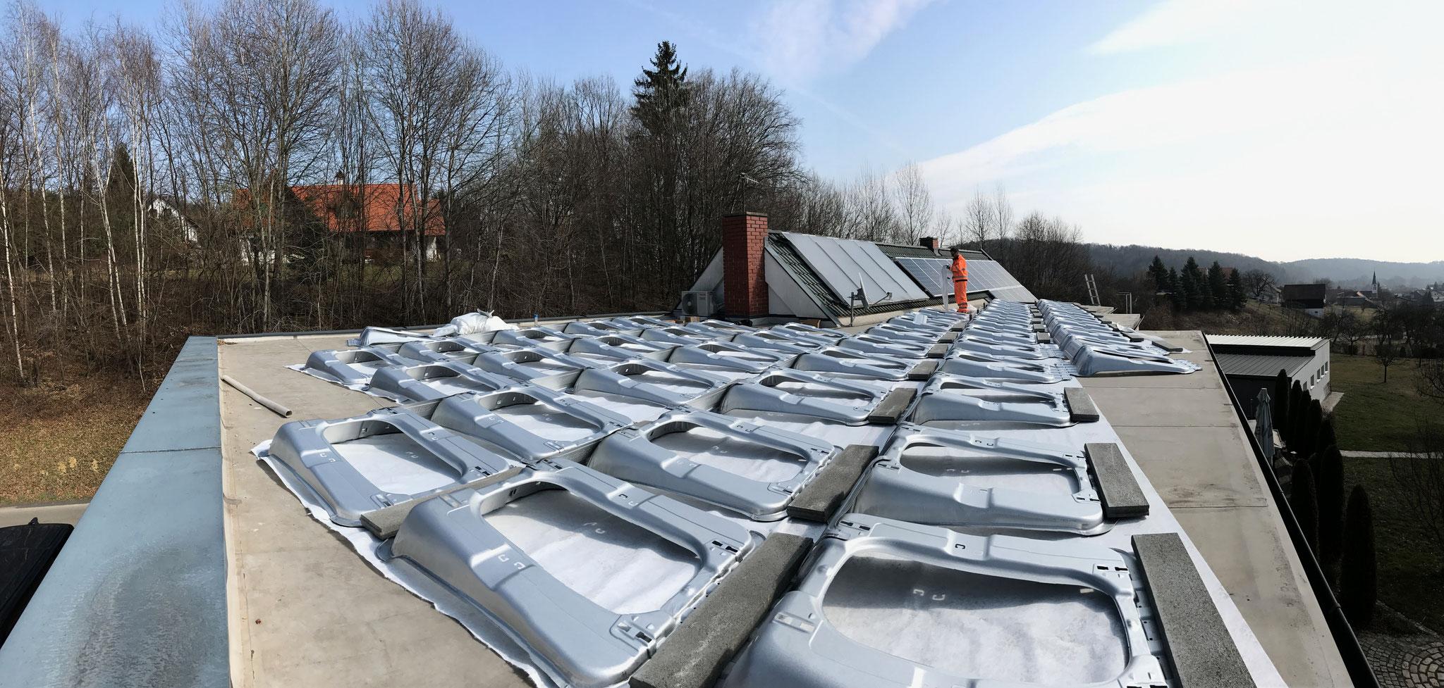 Flachdachaufbau für PV-Module