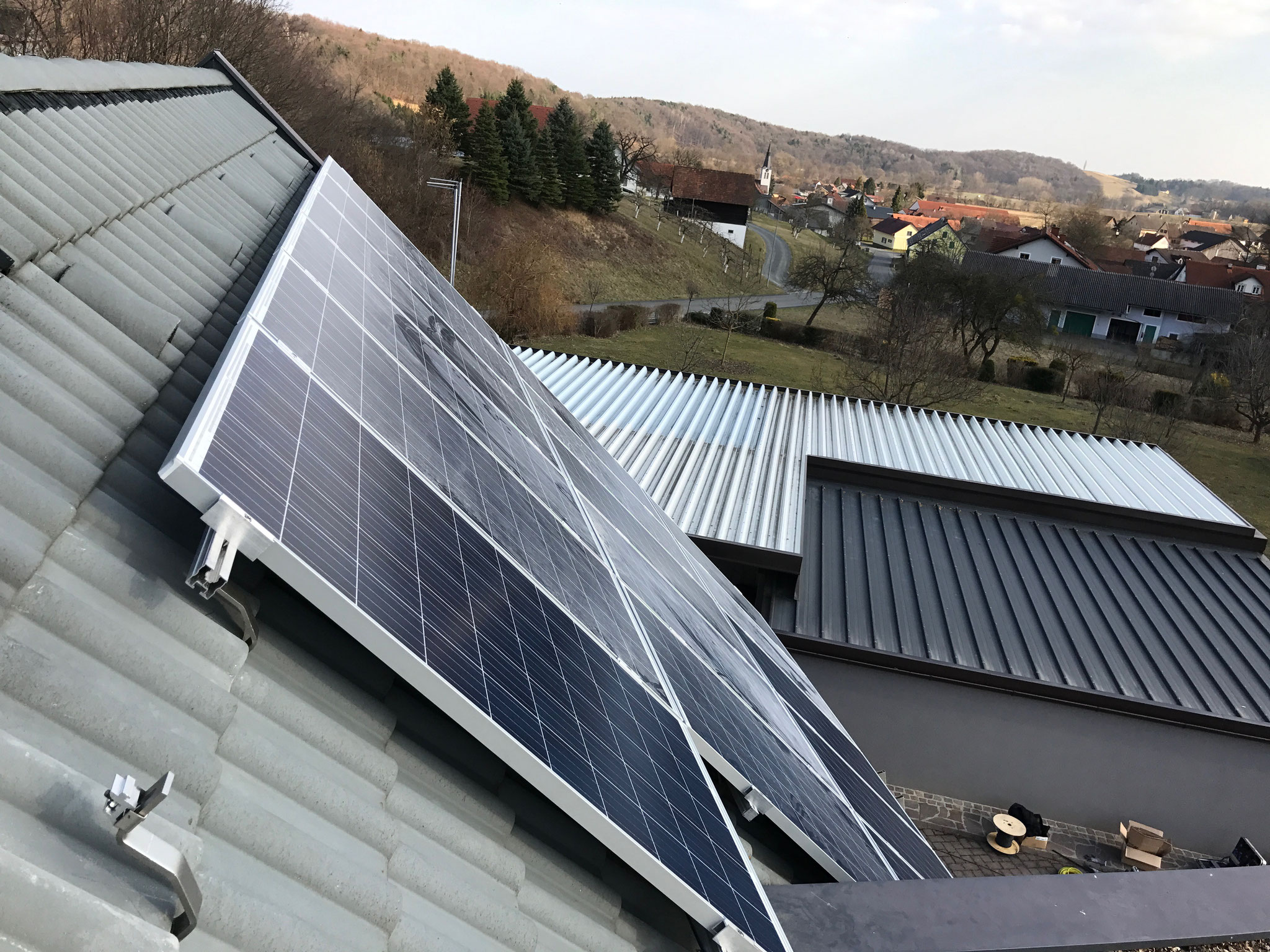 PV-module mounted on the pitched roof