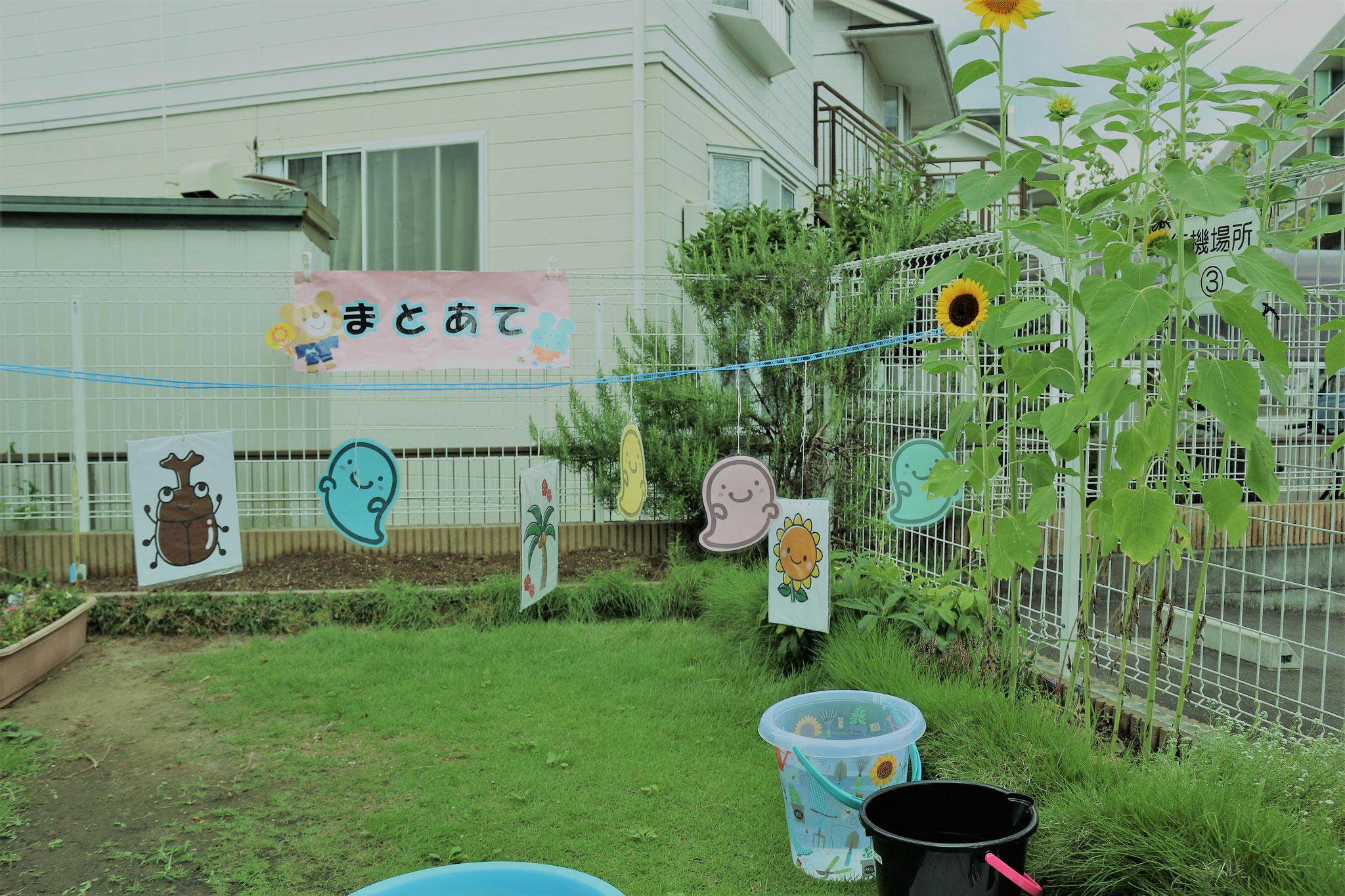 園庭で開催しました😊  的あてコーナー