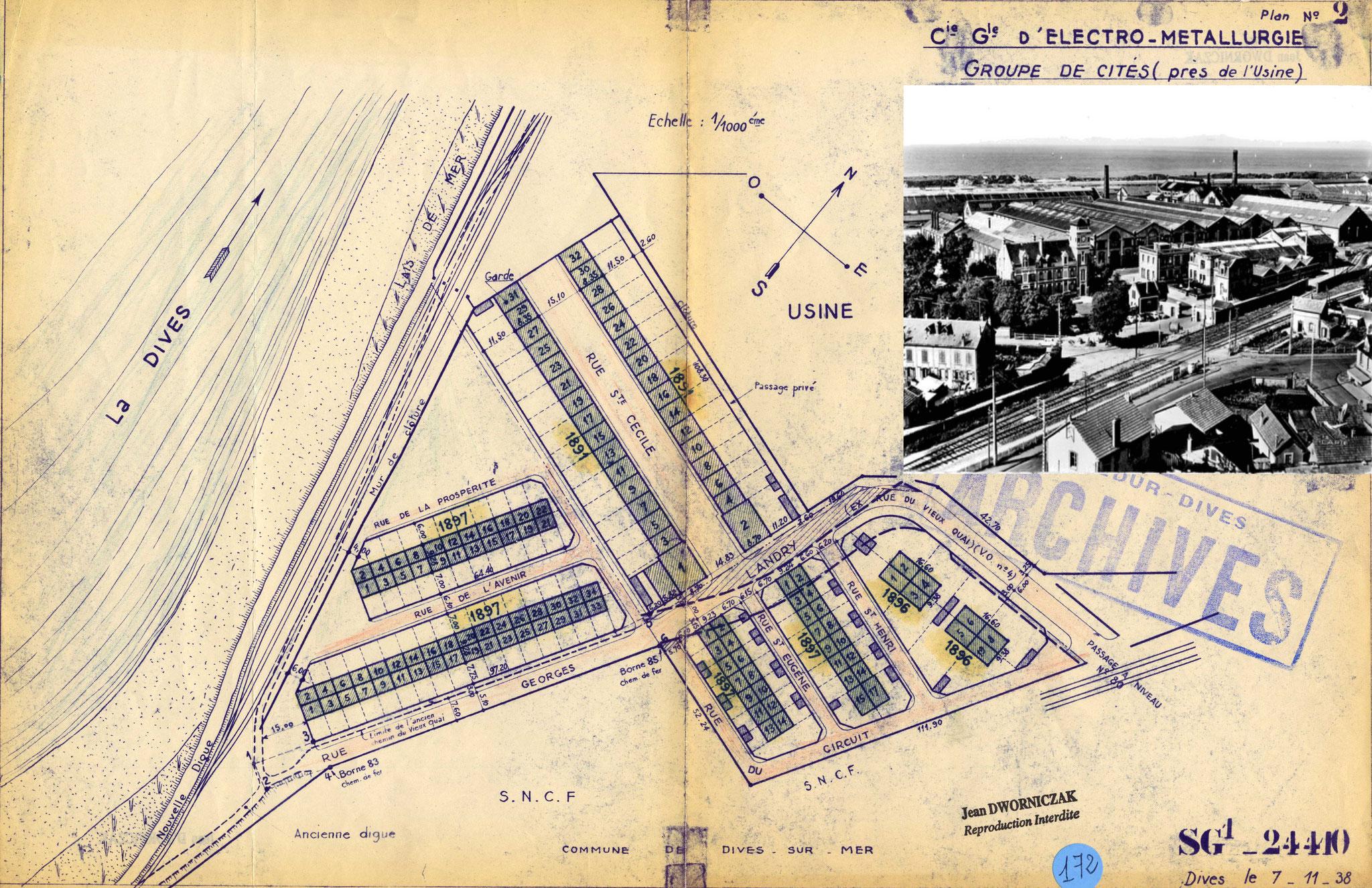 Usine de Dives-sur-Mer, plan groupe de cités, 07-11-1938