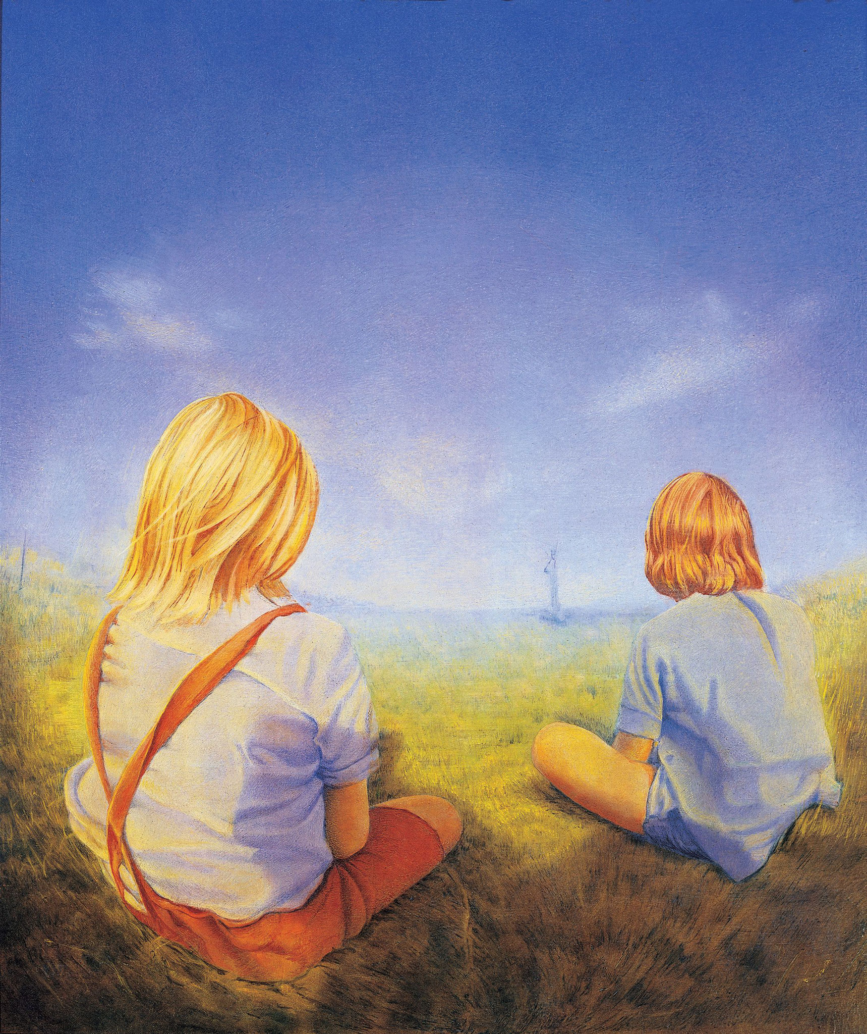 Zwei Kinder, Öl Tempera auf Holz, 60 x 40cm, 1987