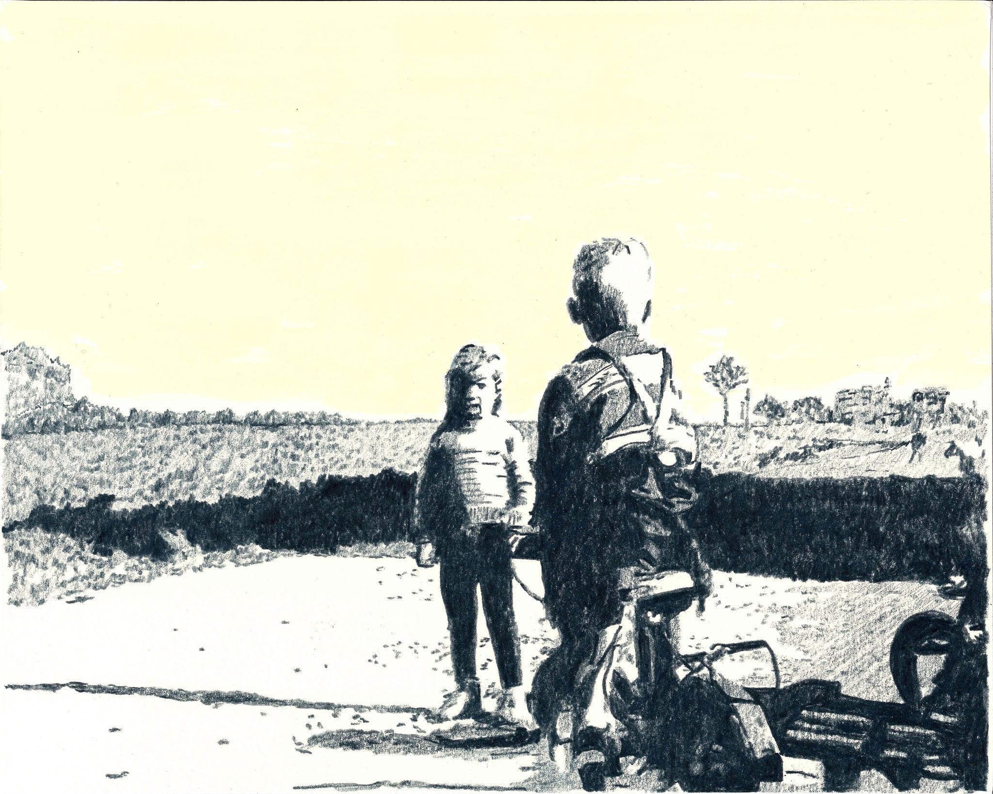 Konfrontation | 28 x 35 cm | Farbstift und Gouache auf Papier | 2014