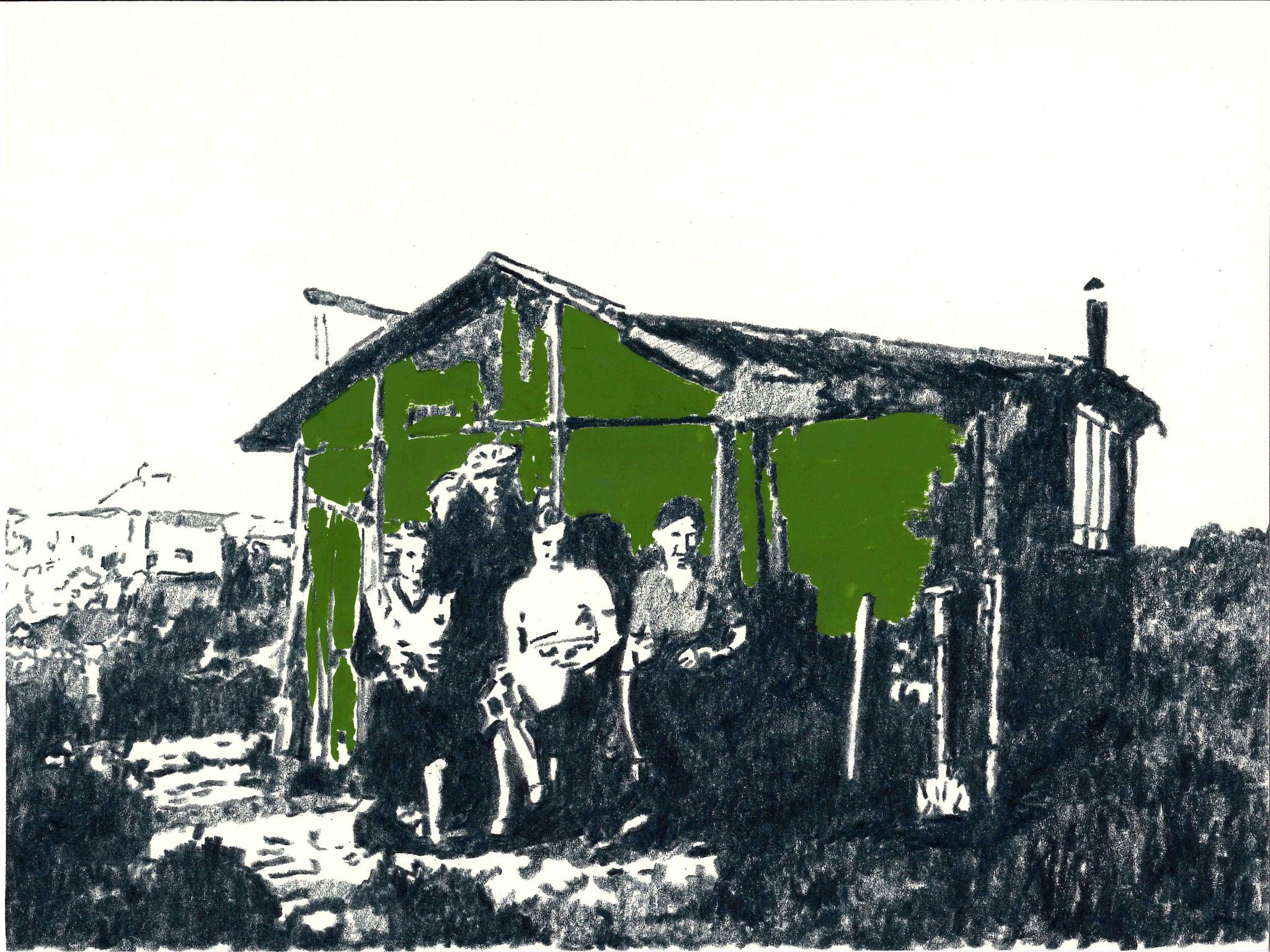 Gartenhaus | 18 x 24 cm | Farbstift und Gouache auf Papier | 2014