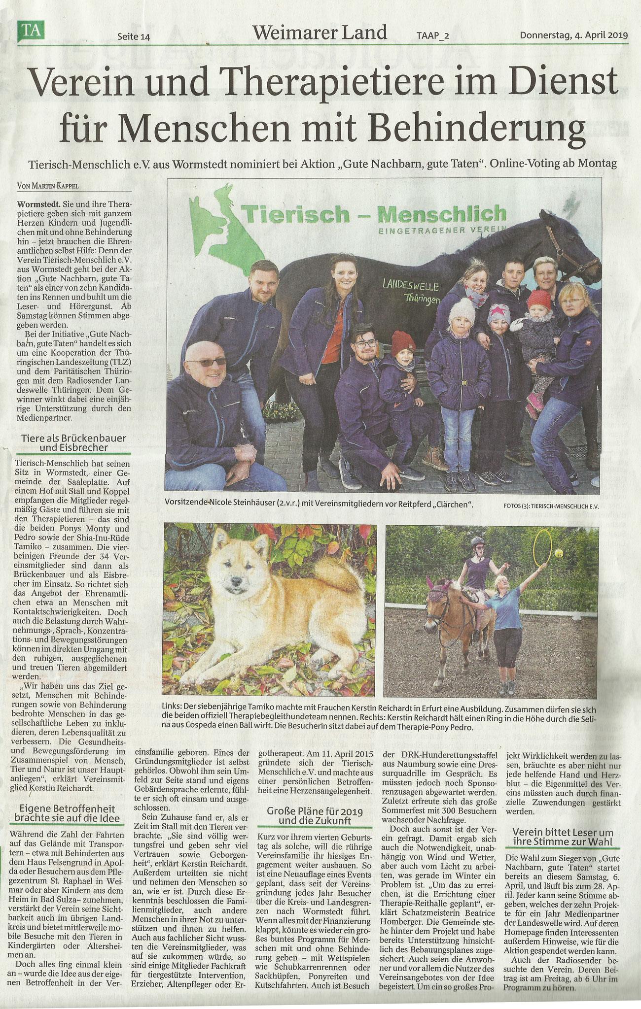 Thüringer Allgemeine vom 04.04.2019