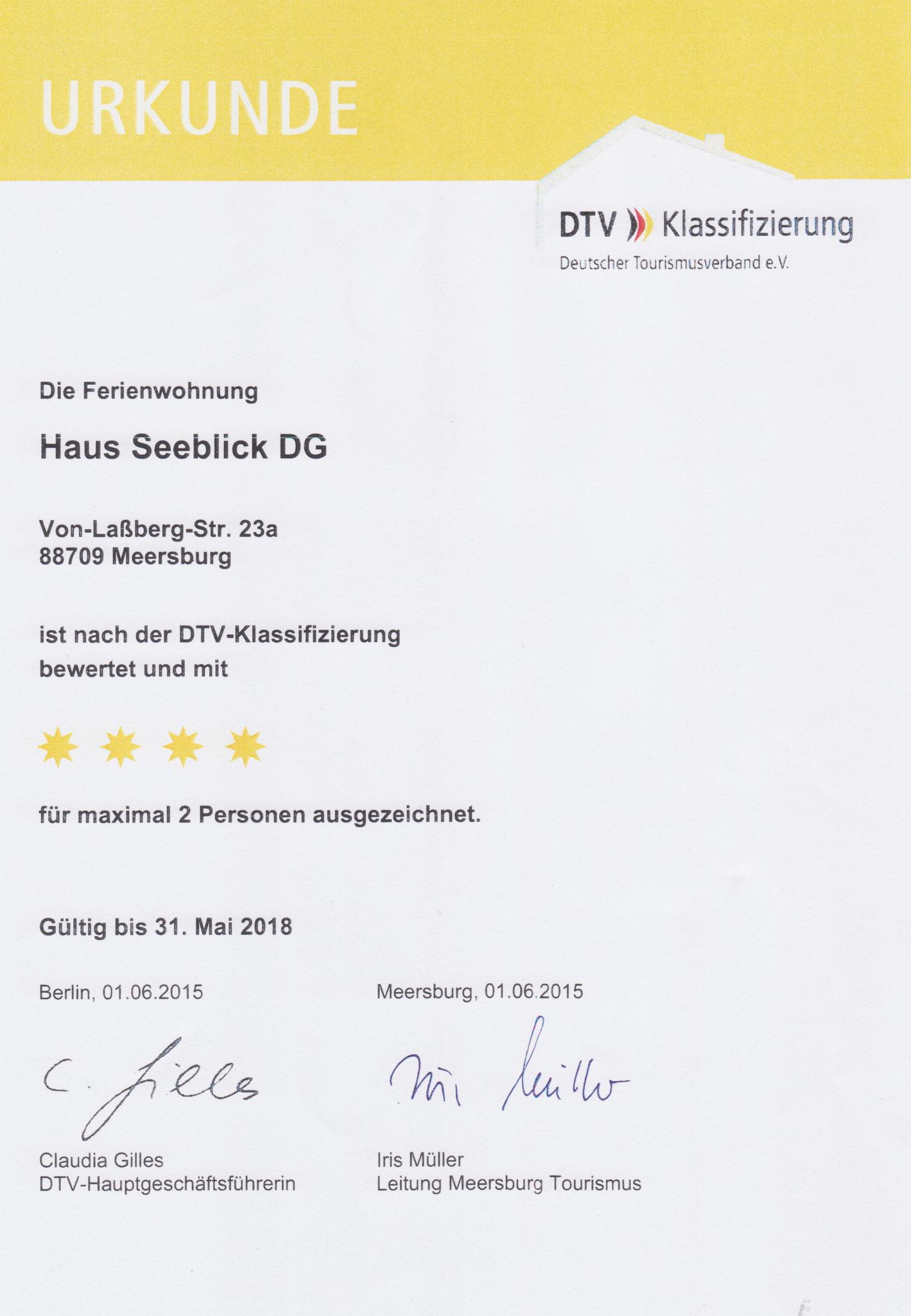 Urkunde 2015 Klassifizierung DG-Wohnung F****