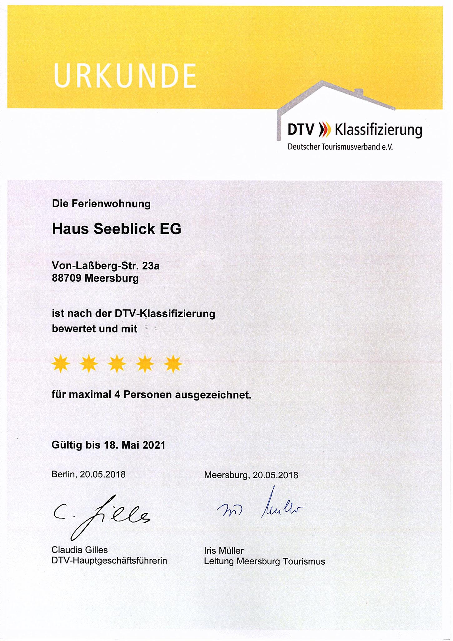 Urkunde 2018 Klassifizierung EG-Wohnung F*****