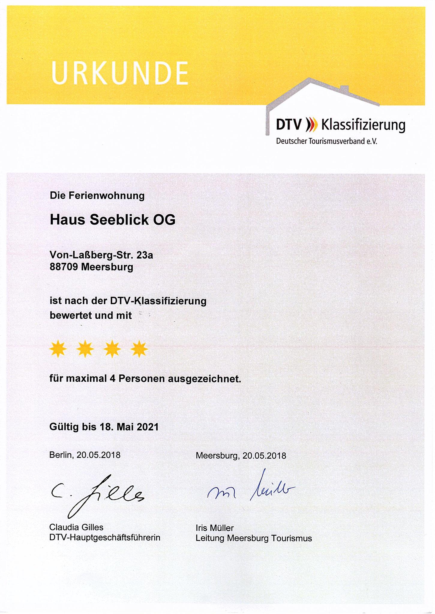 Urkunde 2018 Klassifizierung OG-Wohnung F****