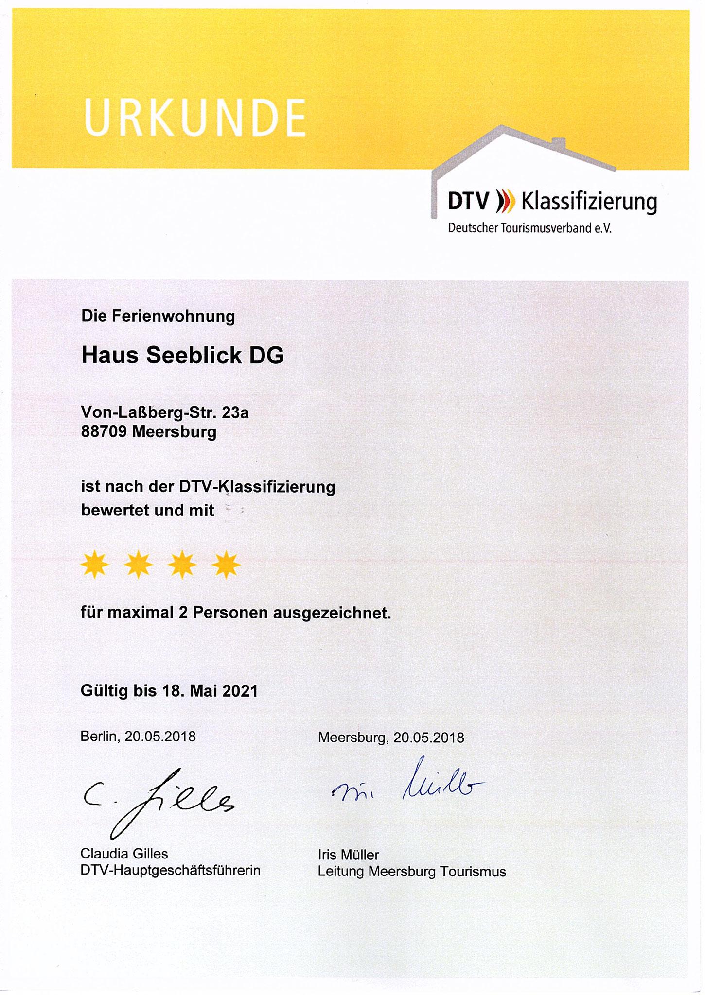 Urkunde 2018 Klassifizierung DG-Wohnung F****