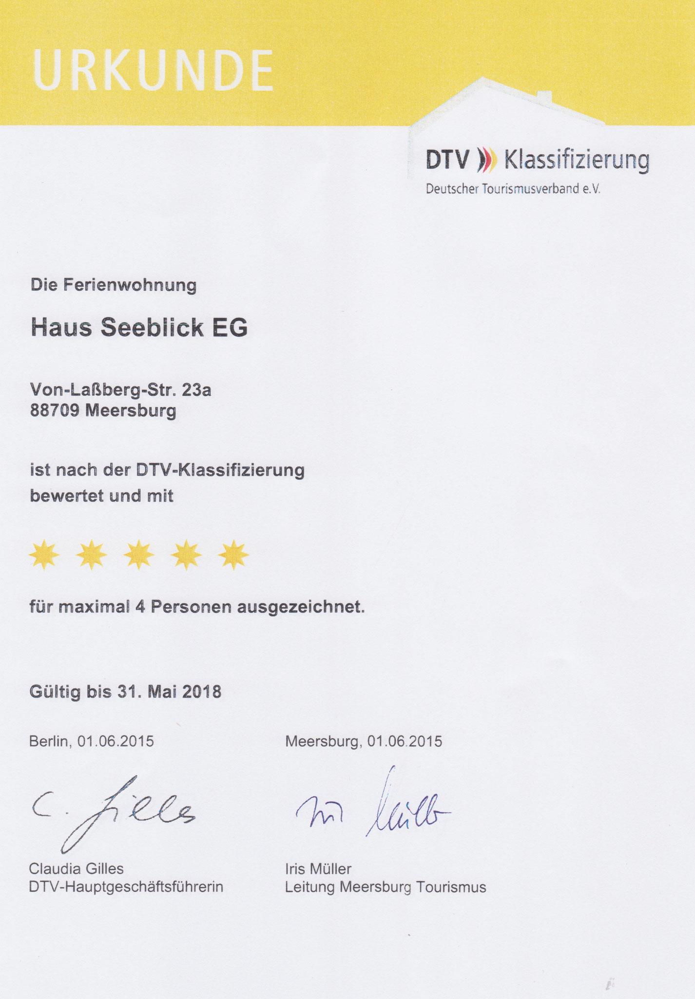 Urkunde 2015 Klassifizierung EG-Wohnung F*****