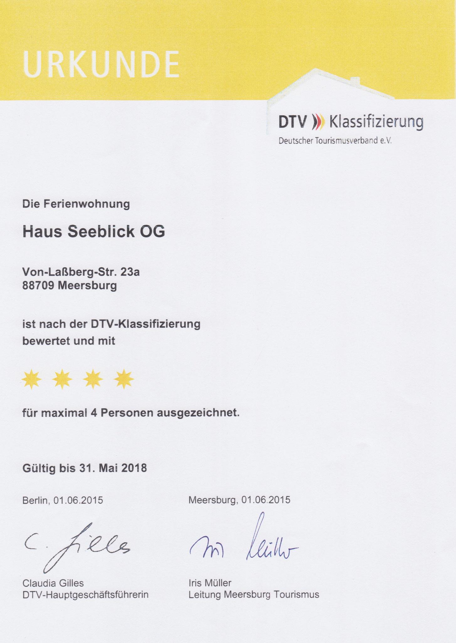 Urkunde 2015 Klassifizierung OG-Wohnung F****