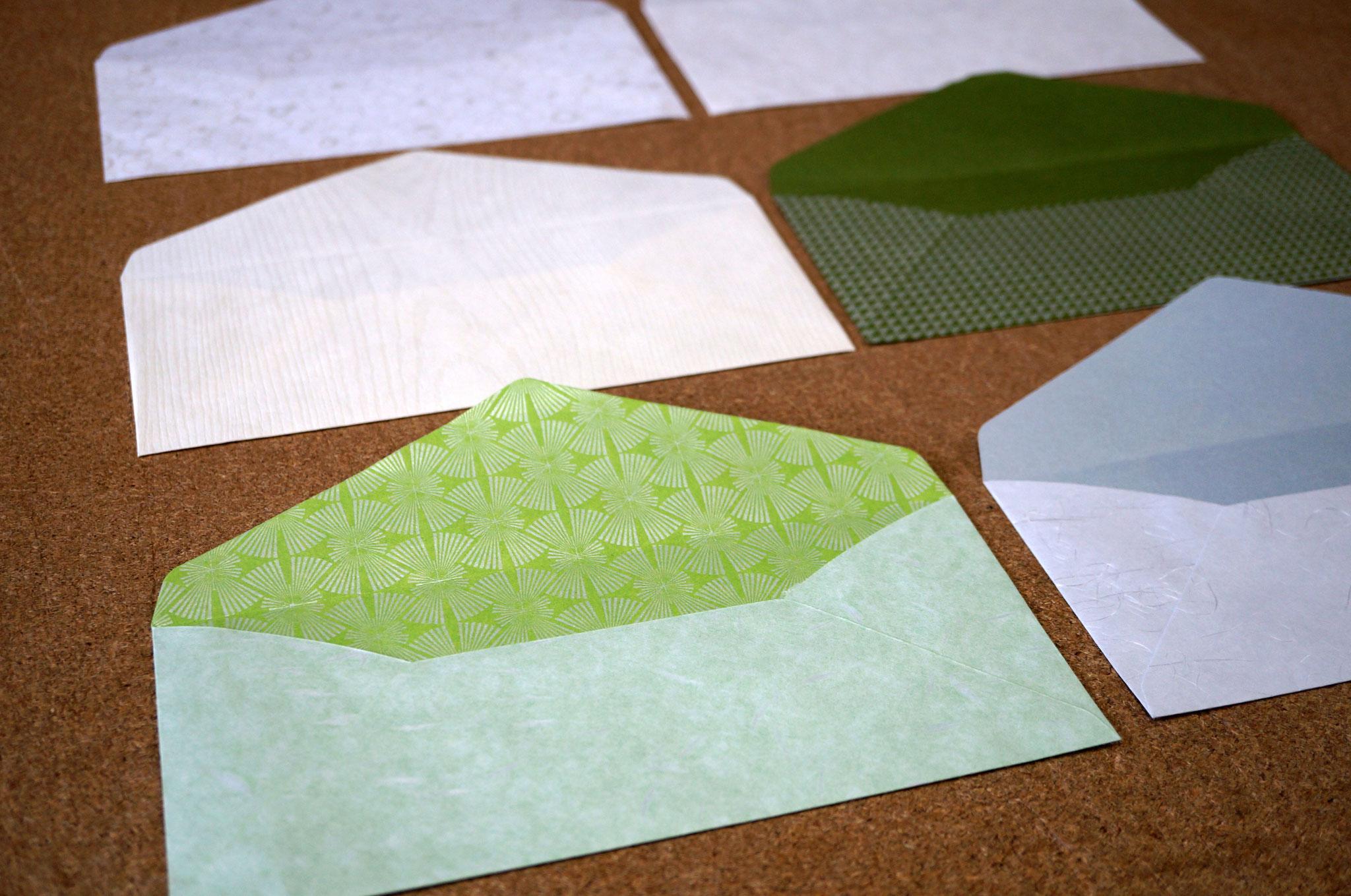 和紙の色や素材感を生かして、別注にて洋形4号の封筒をお仕立てできます