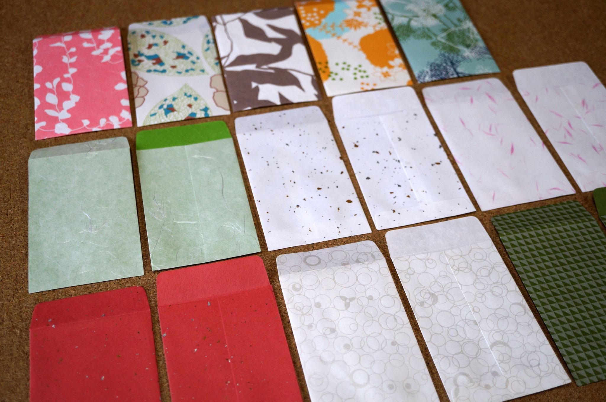 様々な紙色や素材感の和紙でポチ袋を100からカスタムメイドにてお仕立てできます
