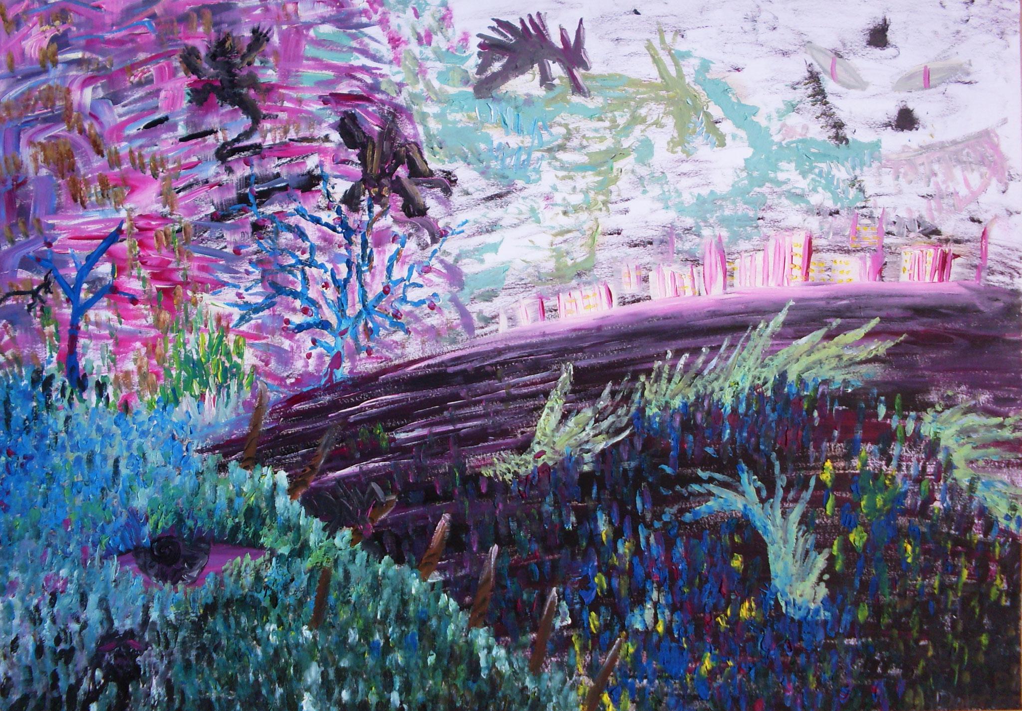 Nachtstadt Öl auf Paper A2 2010