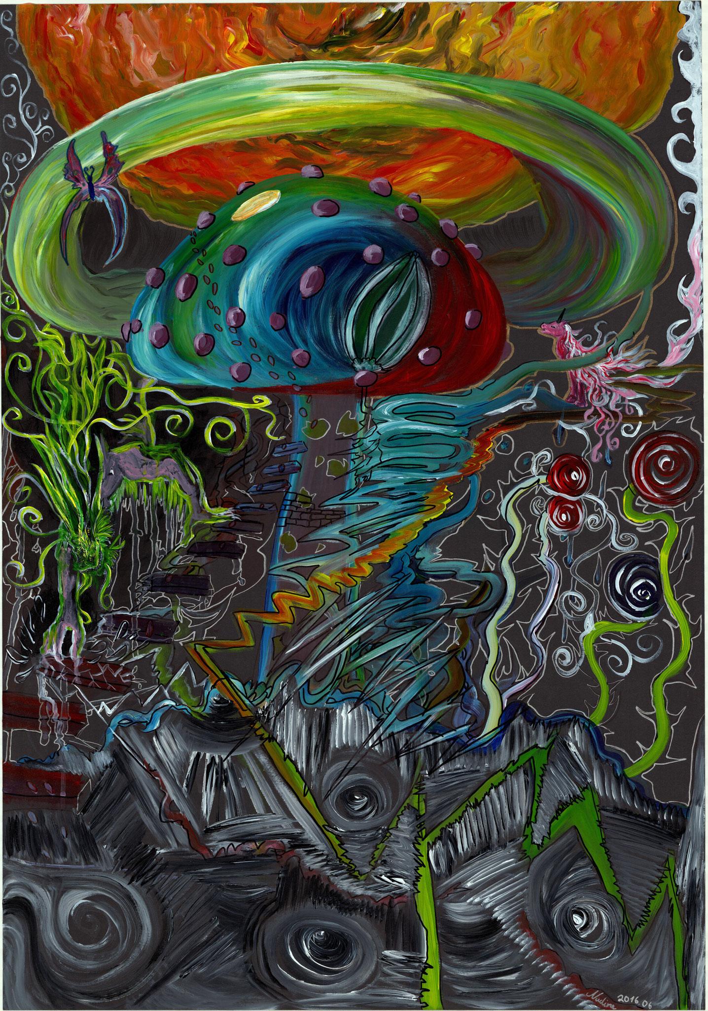 Des Atomes Pilz Acryl auf Papierkarton 70x100cm 2016