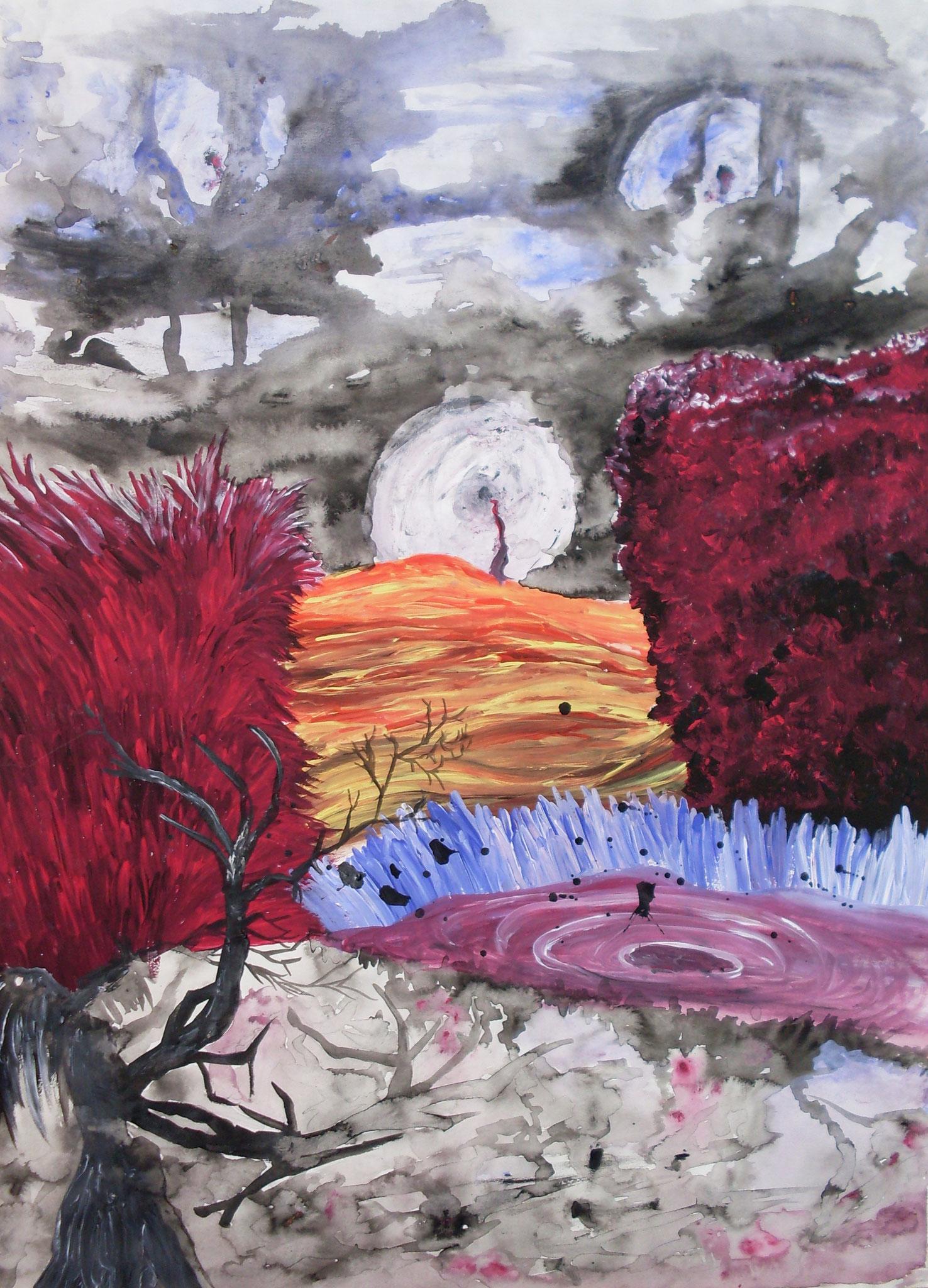Drei Monde Öl auf Papier A2 2009
