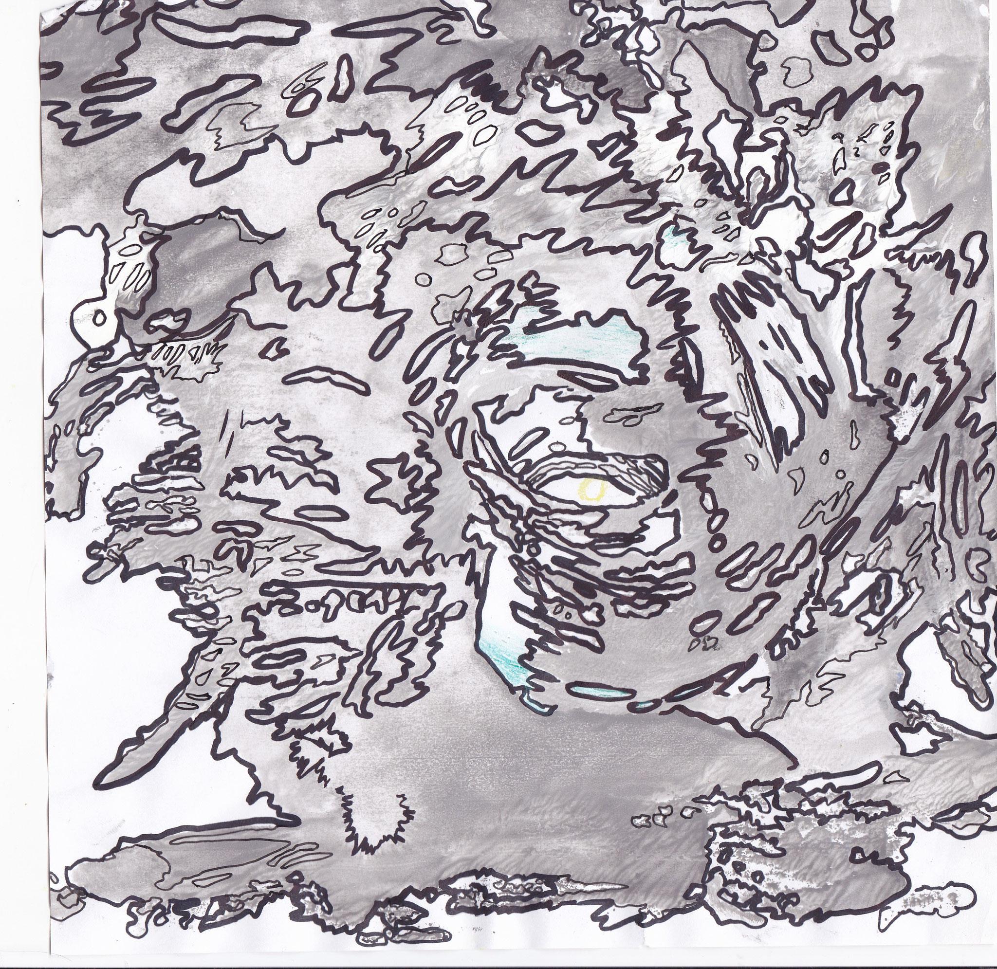 Der Sturm Acryl/Edding auf Papier 20x20cm 2013