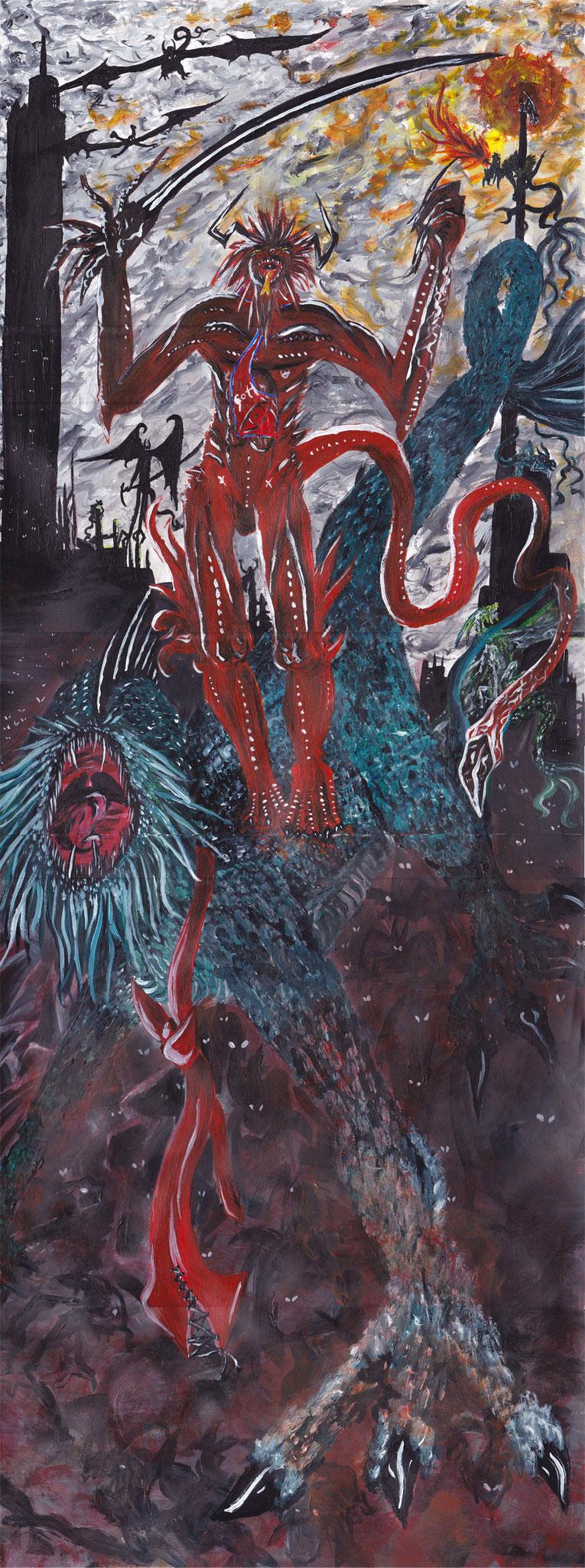 Dämonenfürst  Acryl auf Papier ca. 80x30cm 2010