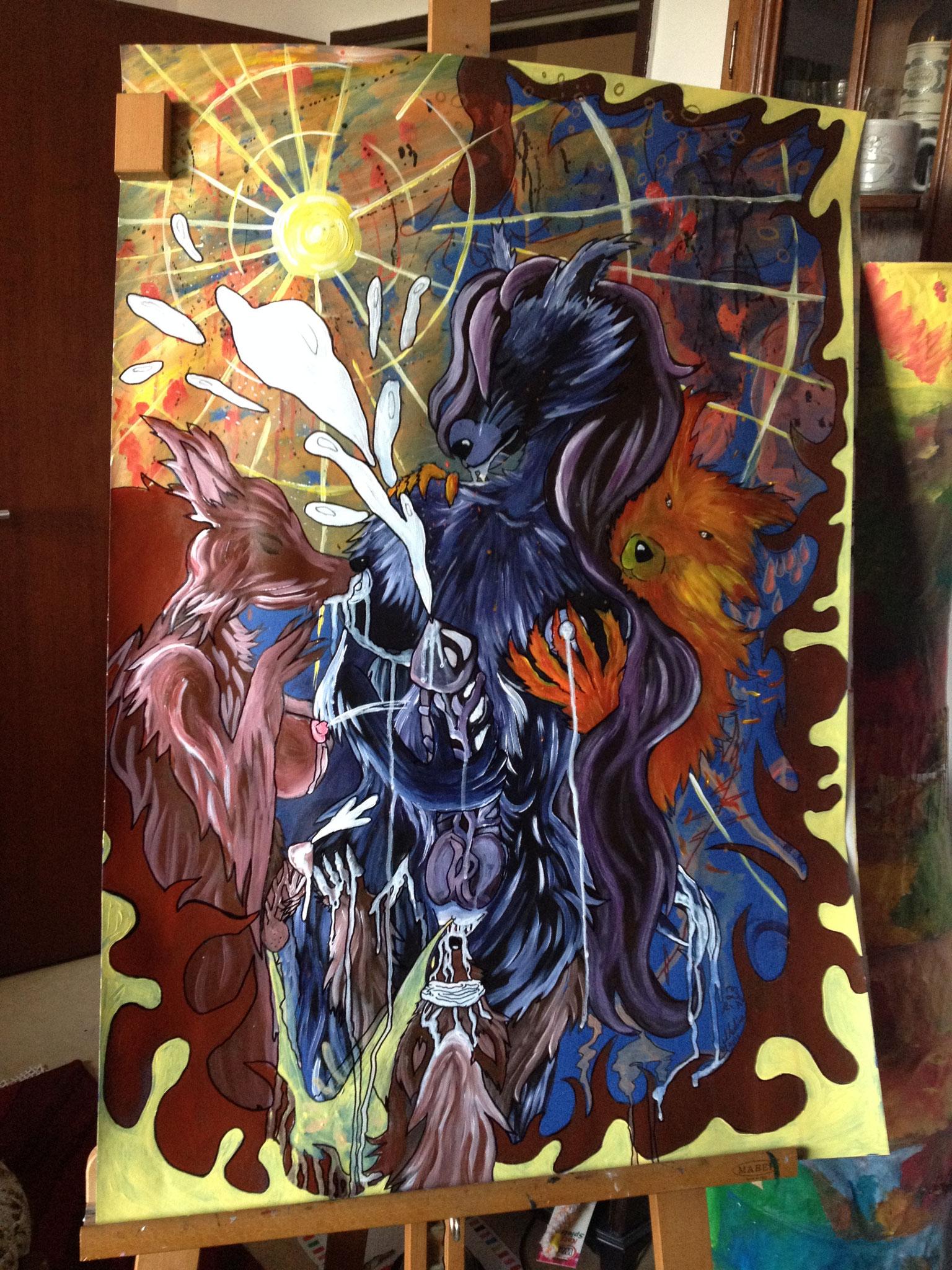 Wolfgelage - Fenrock im Paradies Acryl auf Papierkarton 70x100 2016