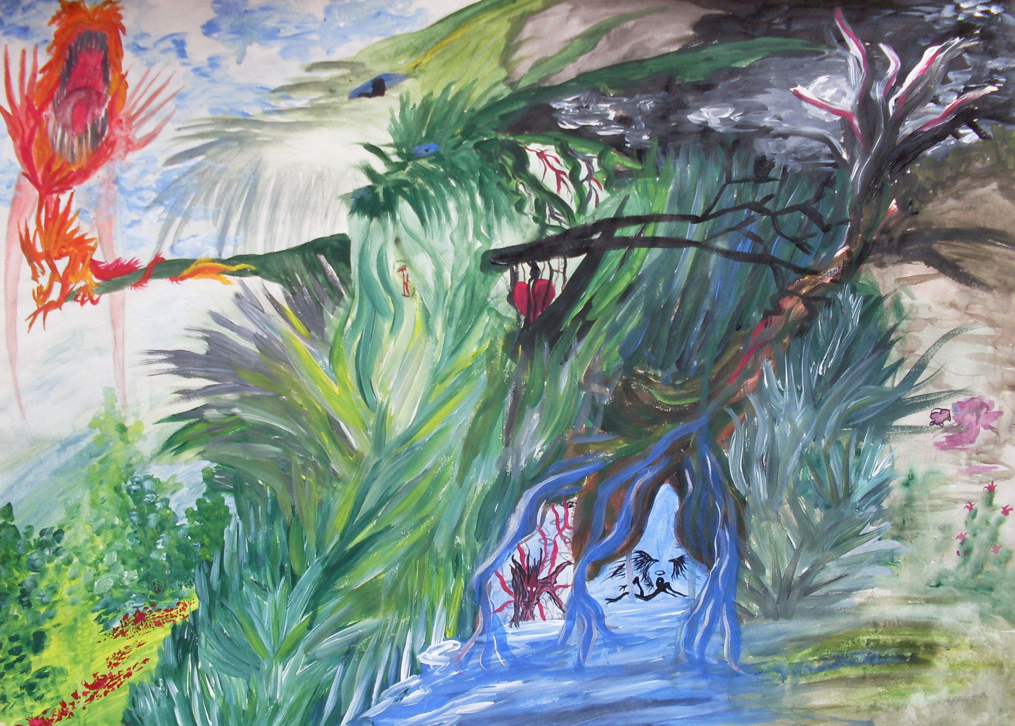 Mutter Natur Acryl auf Papier A2 2004