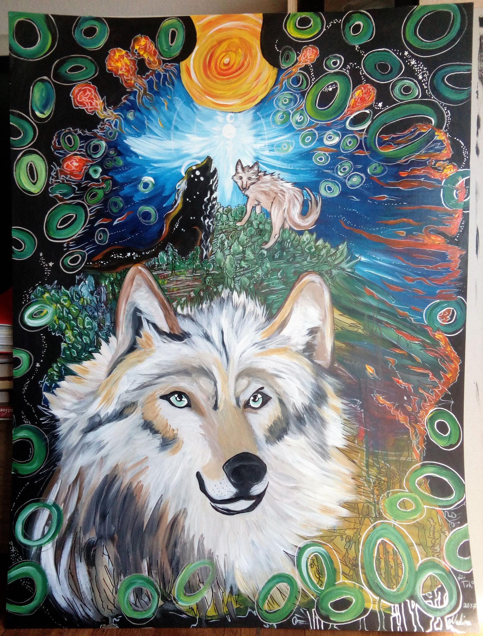 Des Wolfes Natur Acryl/Eddingmix auf Karton 100x70cm für einen guten Freund