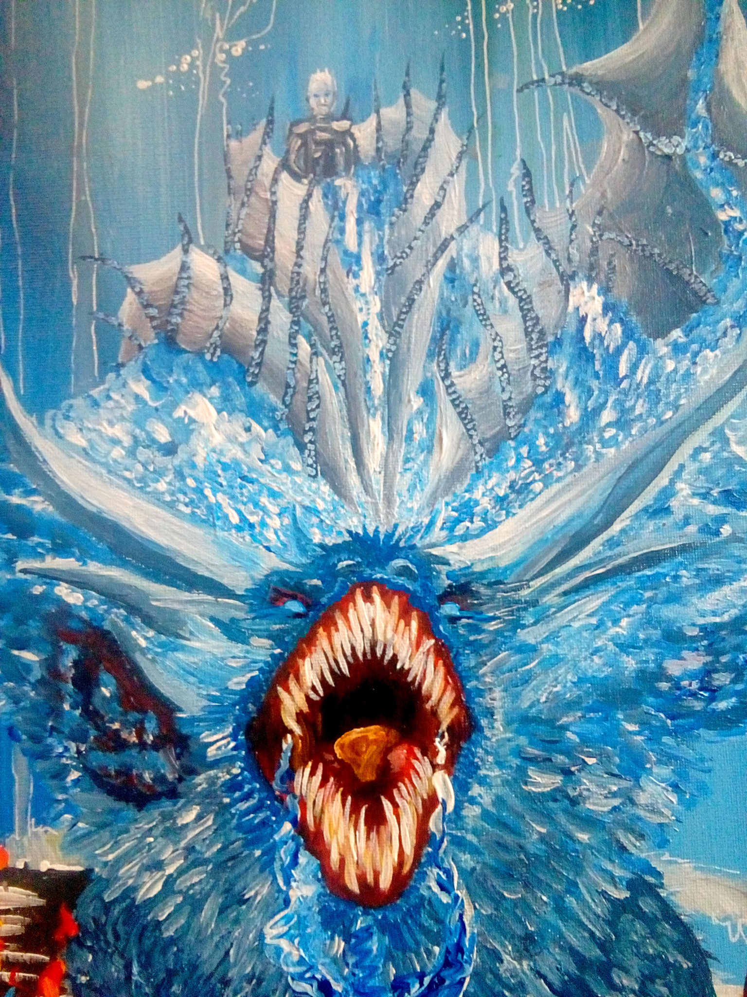 Eiskrone - der Drachenkampf Acryl auf Leinwand 1x1m 2017 Alles Gute zum Geburtstag! inspiriert von Game of Thrones - Ausschnitt