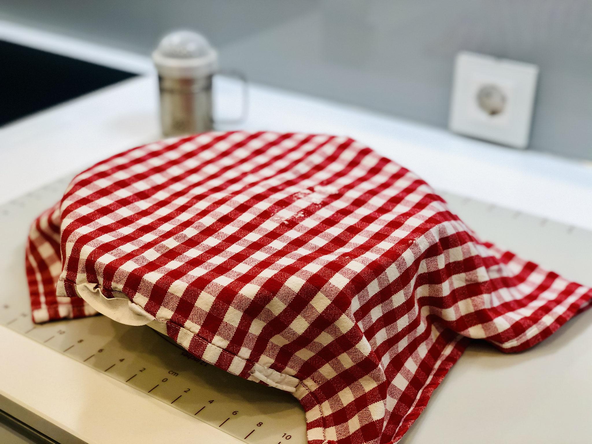 Nun legst du ein sauberes Geschirrtuch über den Teigling und lässt es an einem warmen Ort mindestens 2 Stunden ruhen...