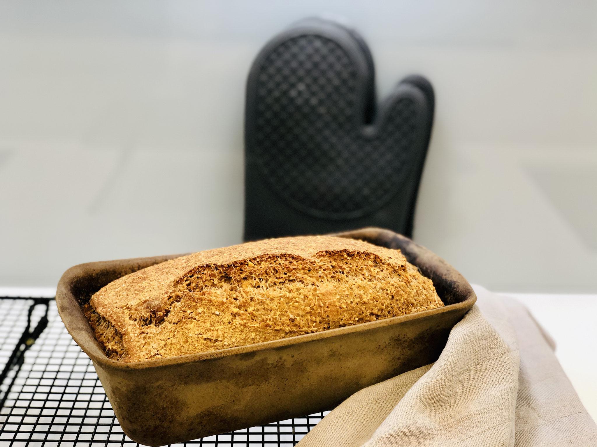Hier siehst du mein frisch gebackenes Brot aus dem Zauberkasten Plus das nun ganz schnell auf das Pampered Chef® Kuchengitter zu abkühlen gestürzt werden muss...
