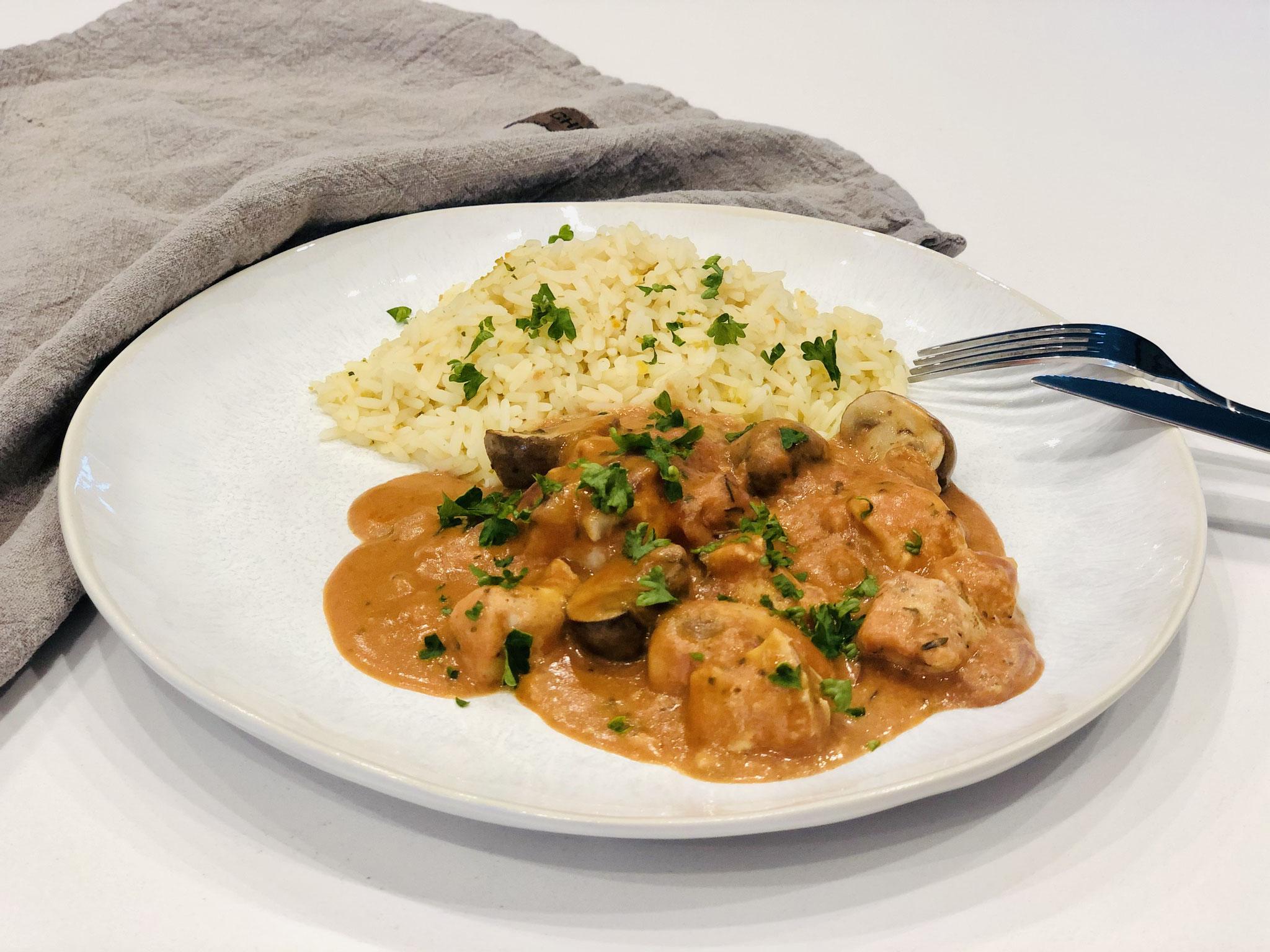 Fertig ist ein super leckeres Menü aus dem Backofen zubereitet in der Stoneware von Pampered Chef®