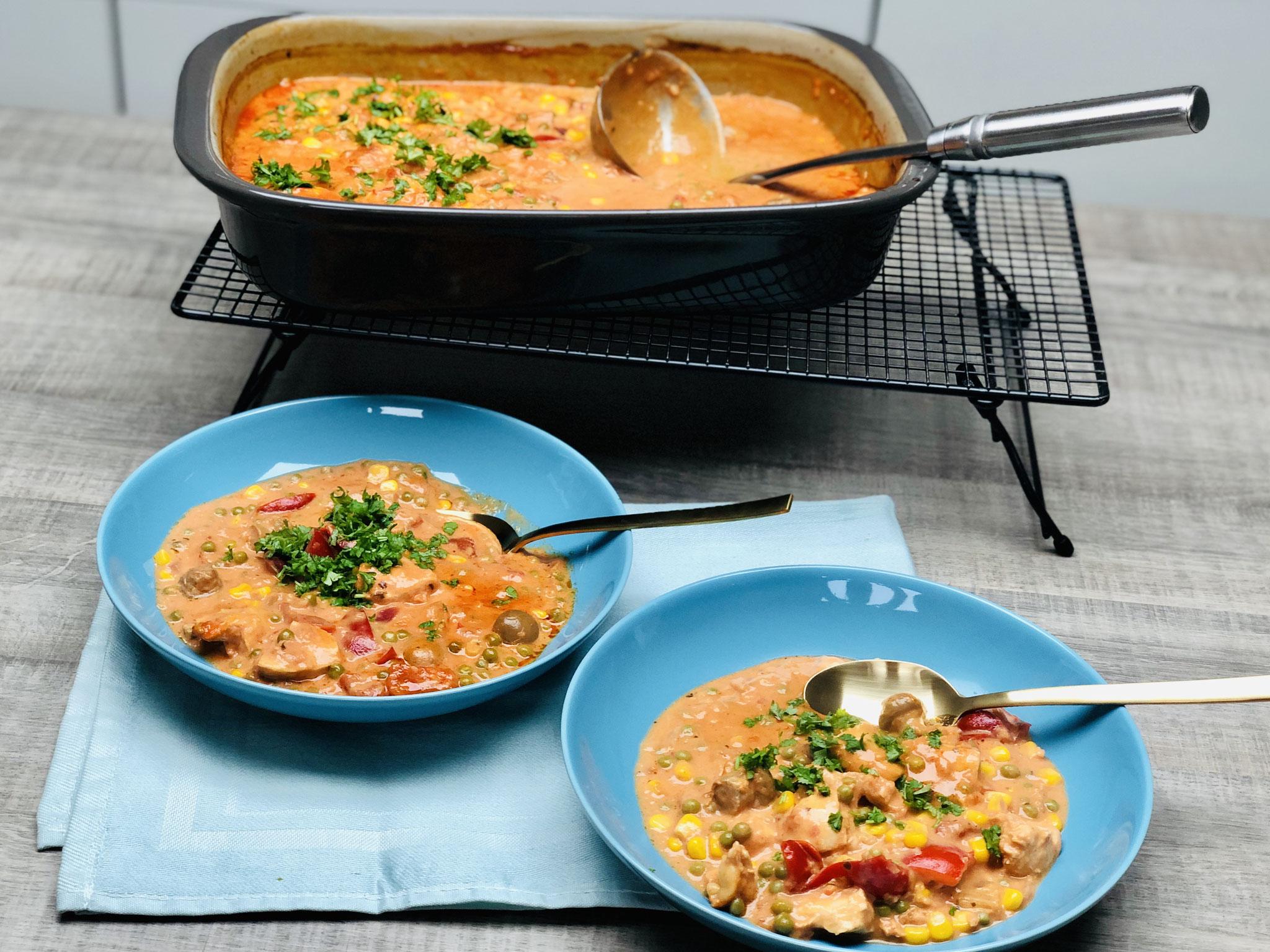 Zubereitet im Grundset von Pampered Chef - Das Grundset enthält die rechteckige große Ofenhexe® und den Zauberstein Finn von Pampered Chef®