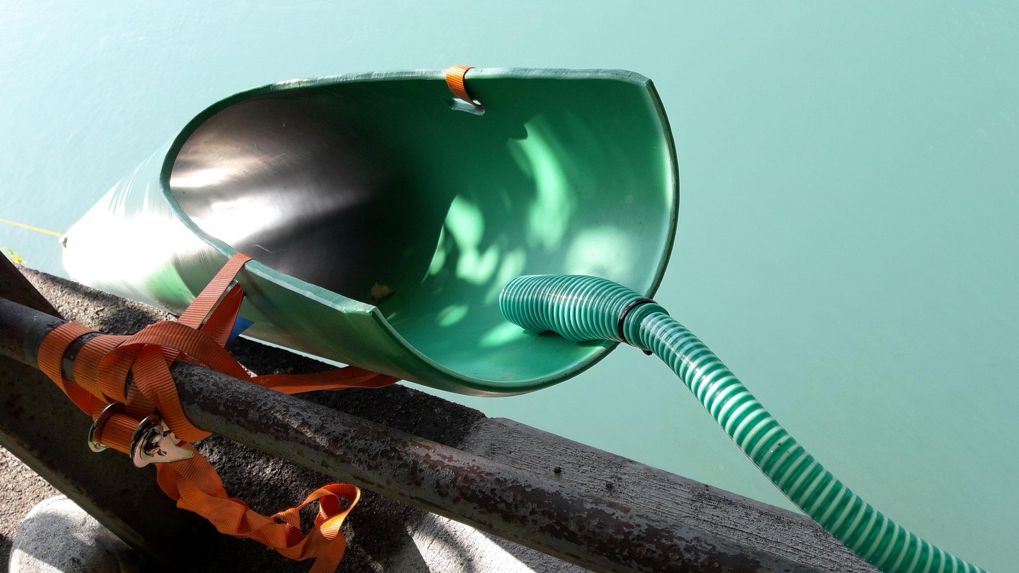 Rückgaberinne mit Bewässerung für Fische