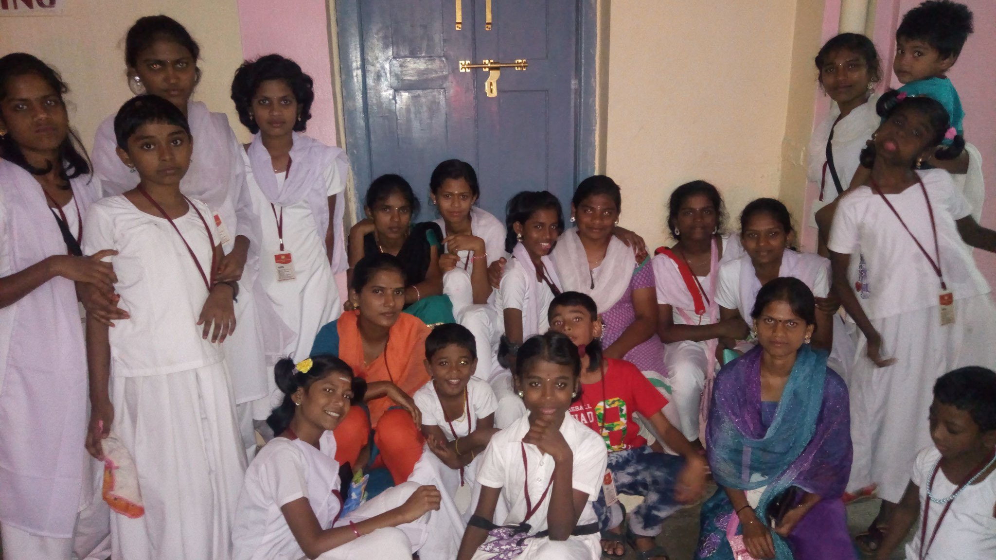 "Happy bunch of girls in the dormitory in Puttaparthi, ""Prashanthi Nilayam Ashram"""