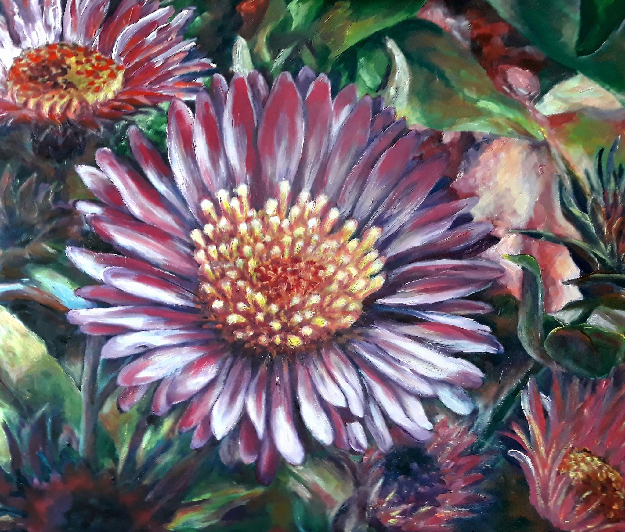 Chrysanthemen, frau jenson 2019, Ölmalerei auf Holz