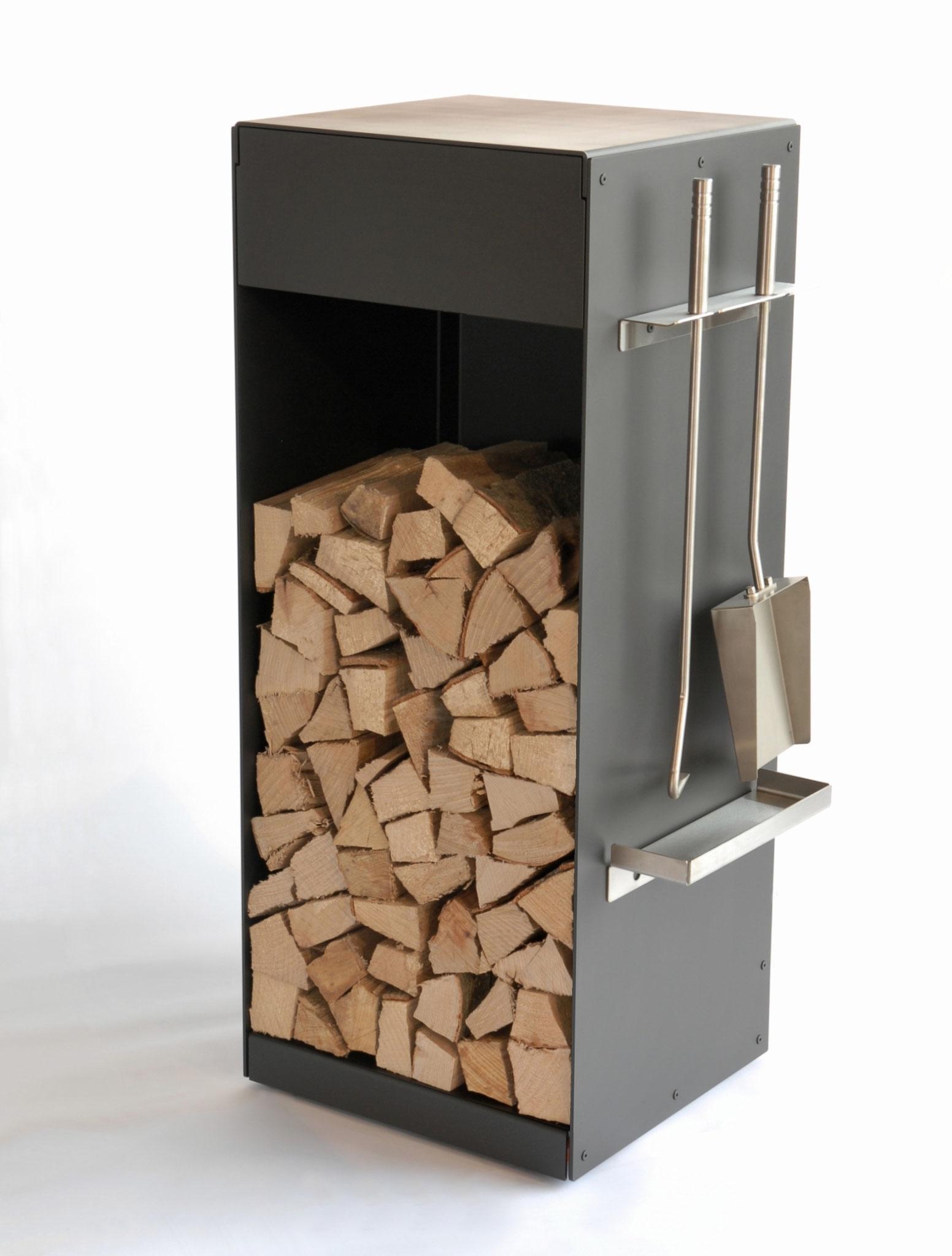 Greub Holzbox mit Schublade, Rollen & Kaminbesteck