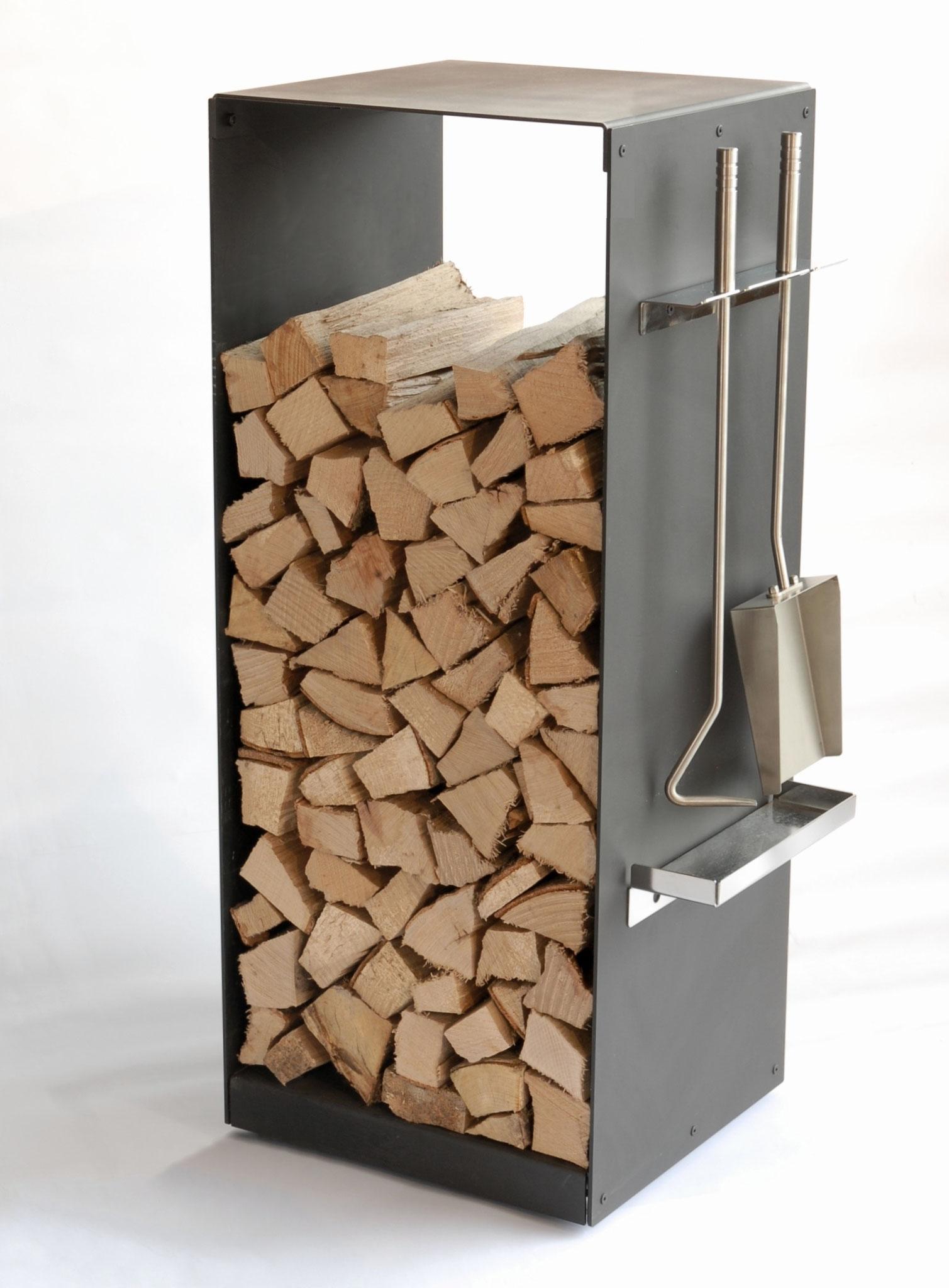Greub Holzbox mit Rollen & Kaminbesteck