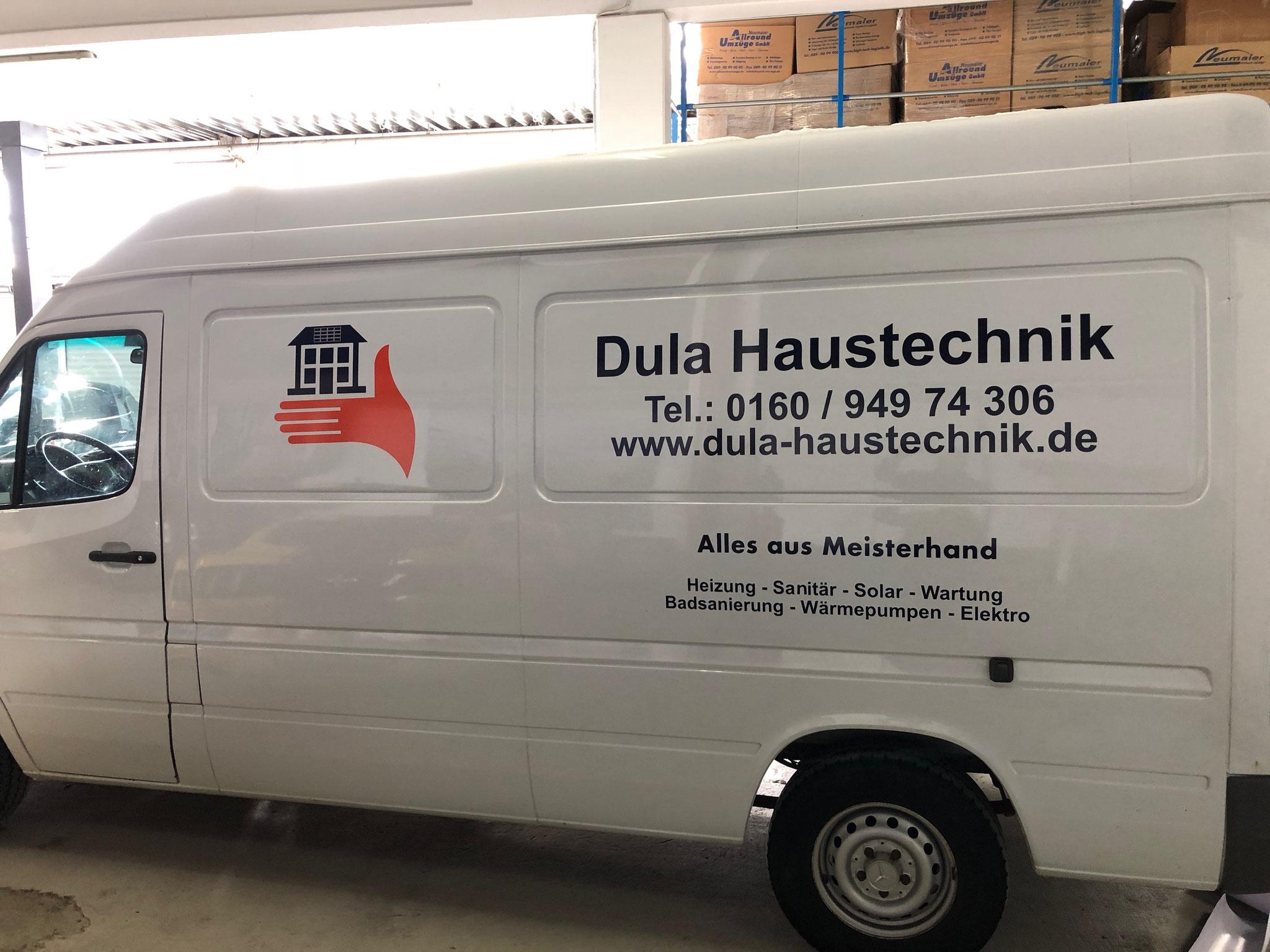 Dula Haustechnik Autobeschriftung in München