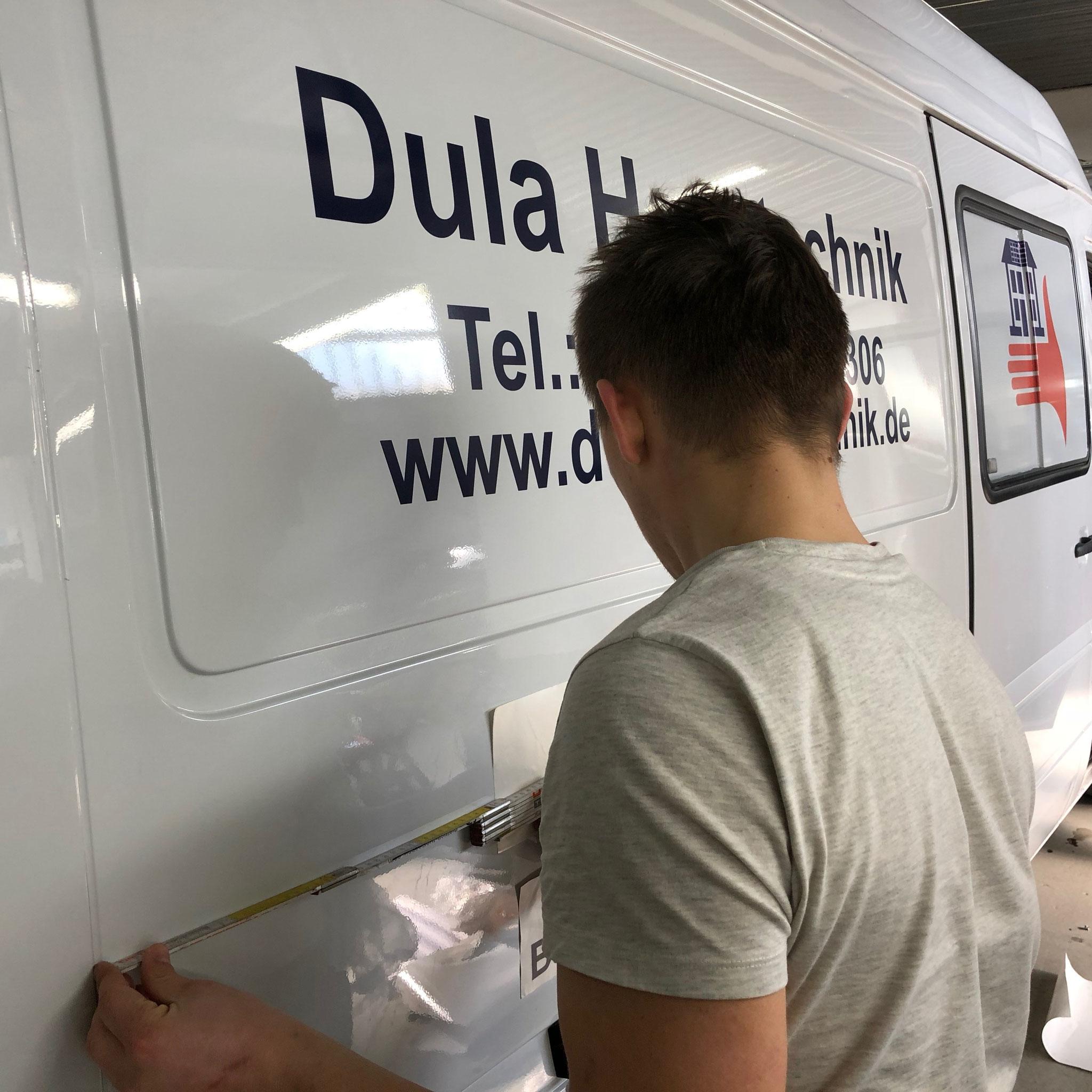 Dula Haustechnik Transporter Beschriftung in München