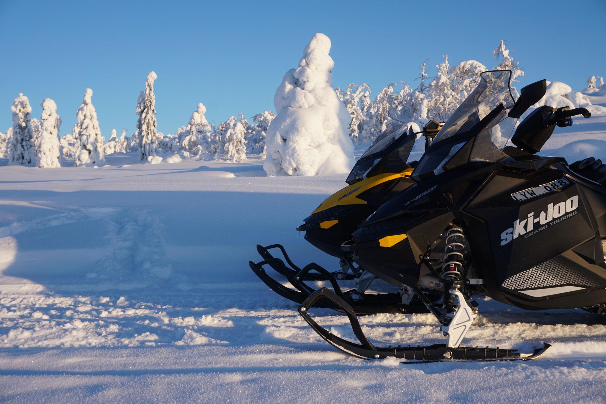 Mit dem Schneemobil im Winter Wonderland