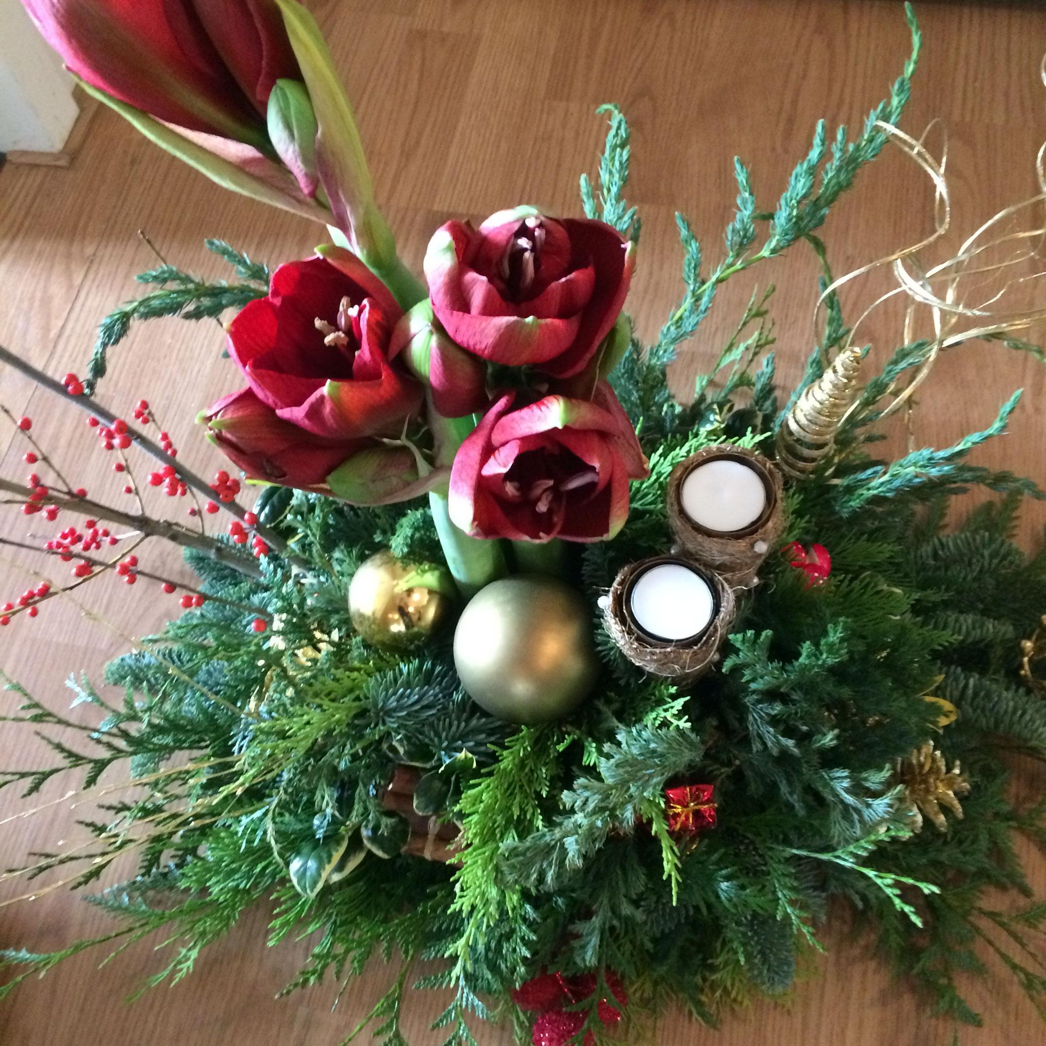 Kerststuk + Amaryllis