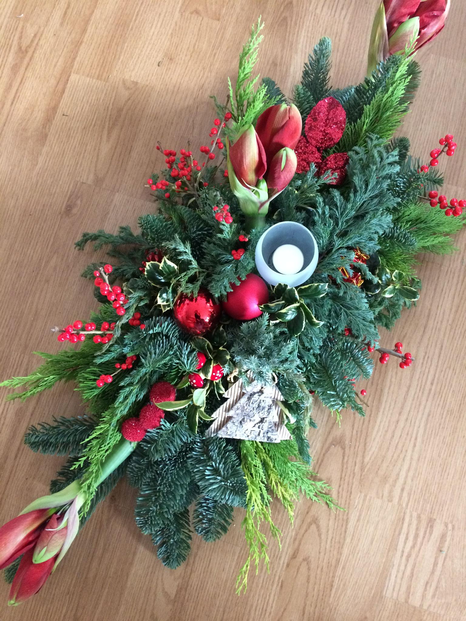 Kerststuk Groot + Amaryllis