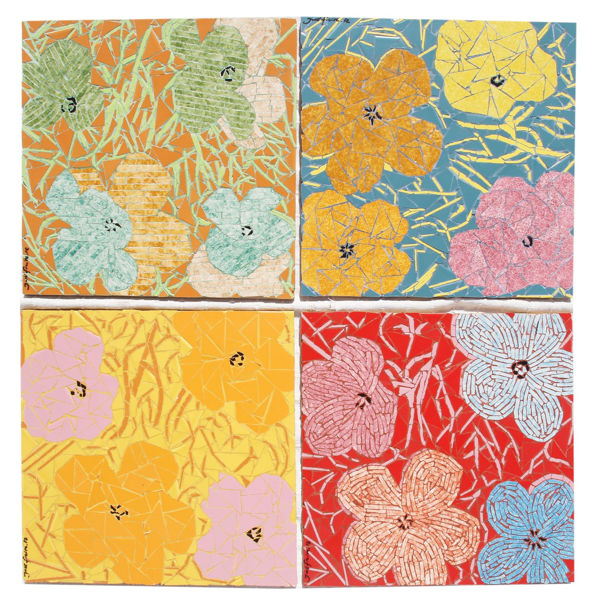 """""""Flores"""" - 30x30 cm (cada um)"""