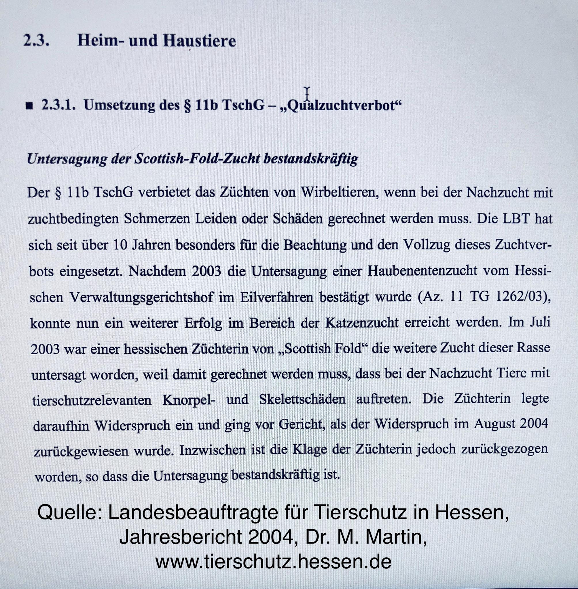 Untersagung der Scottish Fold Zucht, Hessischer Landtag, 2004, Dr. M. Martin