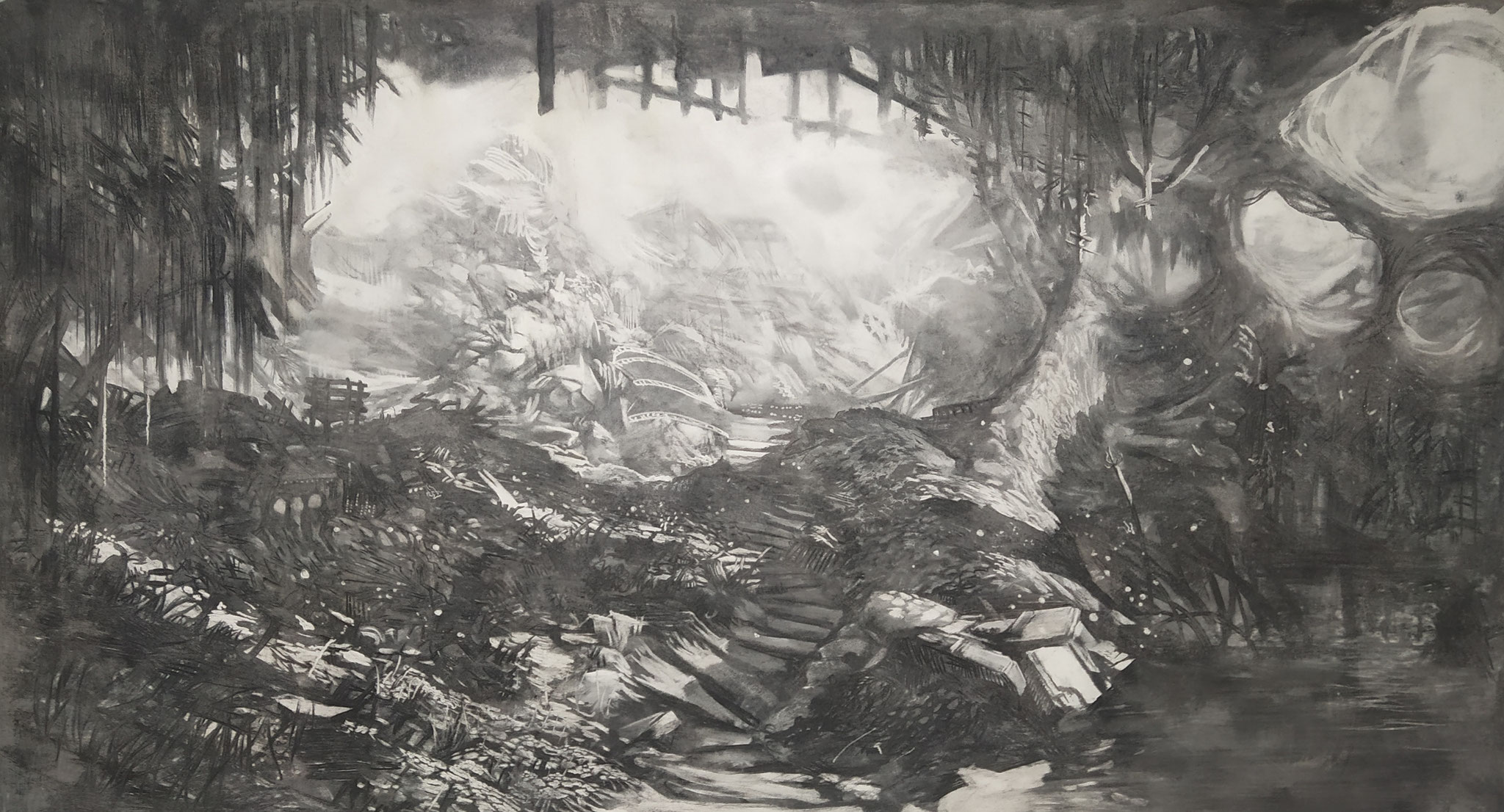 2019 - The Cave - Charcoal on MDF board - 170 x 90 cm - AVAILABLE
