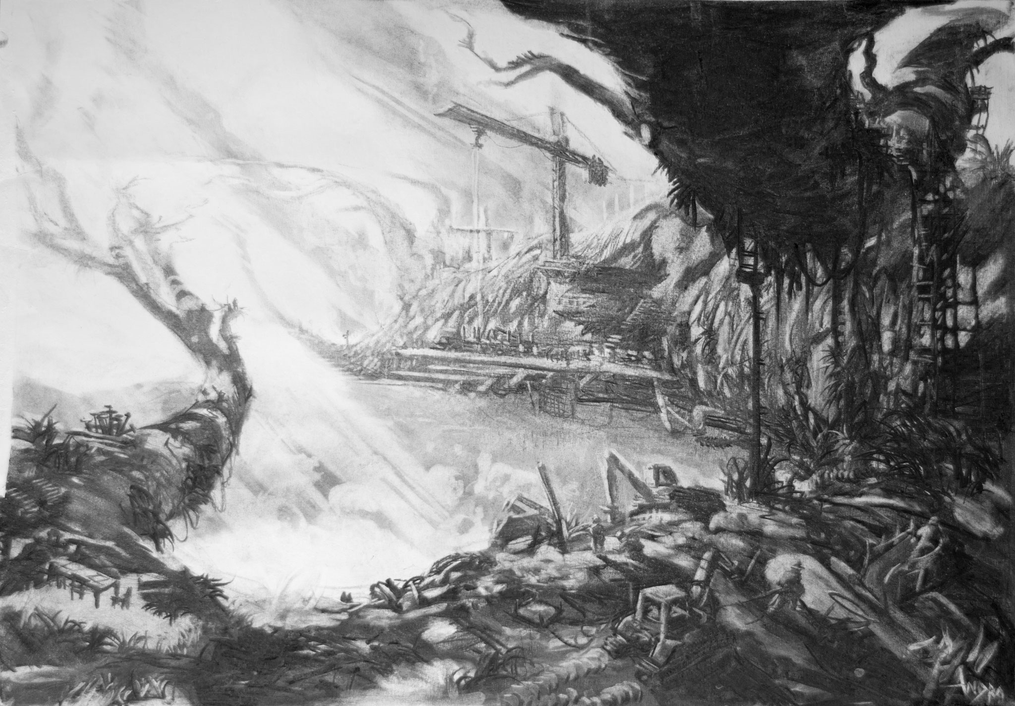 2016 - Wharf - Charcoal on paper - 74 x  54 cm - SOLD