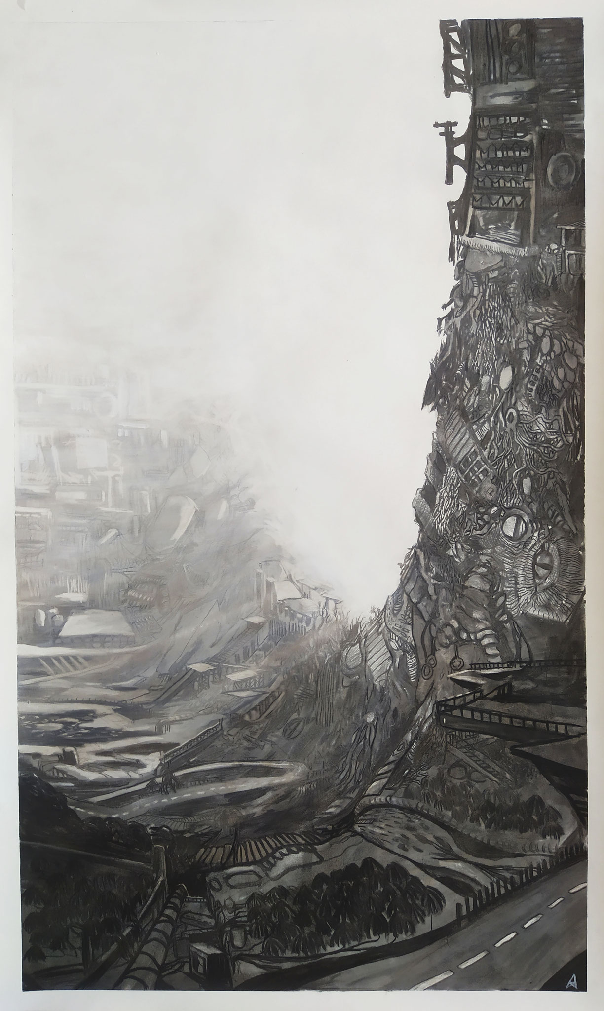 2020 - Parabola - Charcoal on paper - AVAILABLE