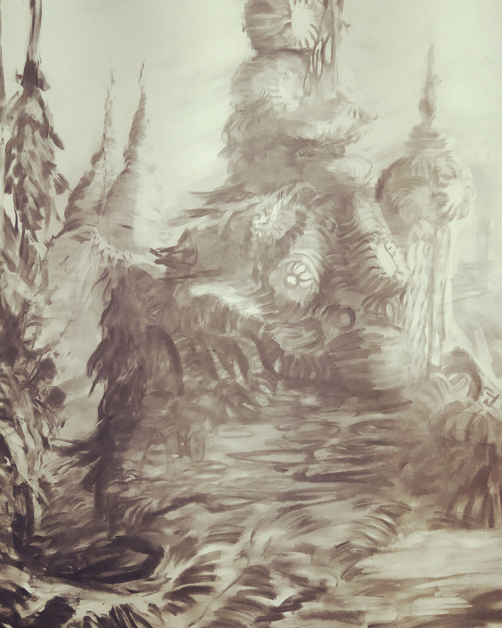 2020 - Wizzard's Tower - Charcoal on paper - AVAILABLE